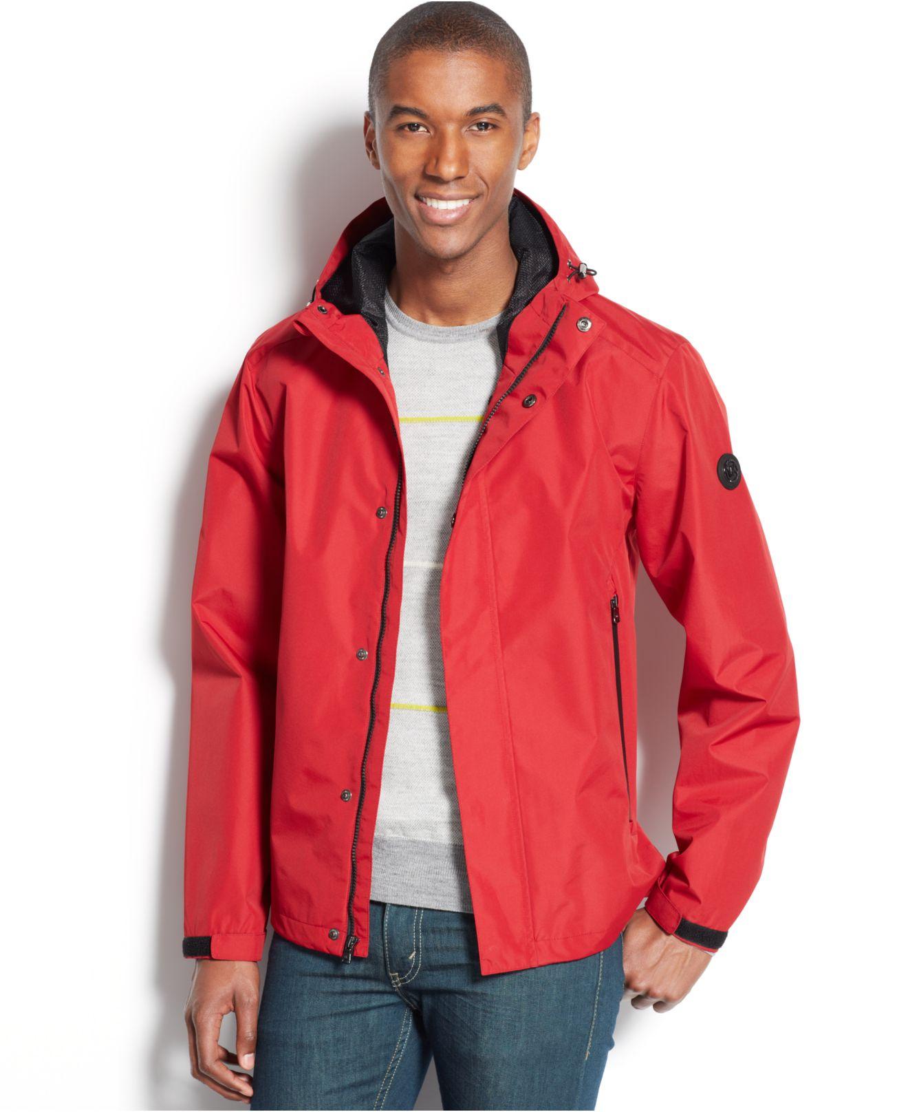 Michael kors Michael Bridgewater Hooded Waterproof Jacket in Red ...