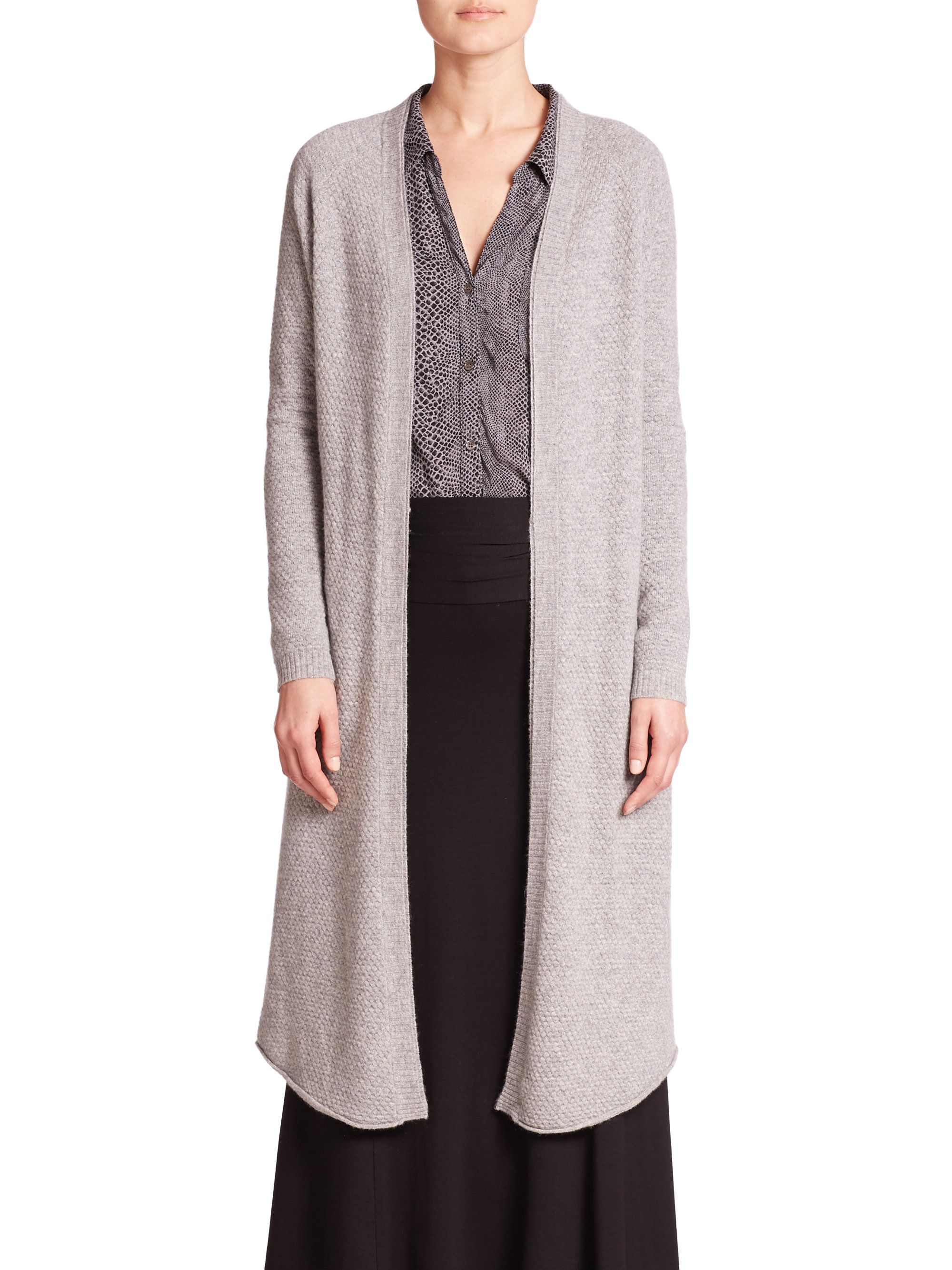 Three dots Cashmere & Silk Long Belted Cardigan in Gray | Lyst