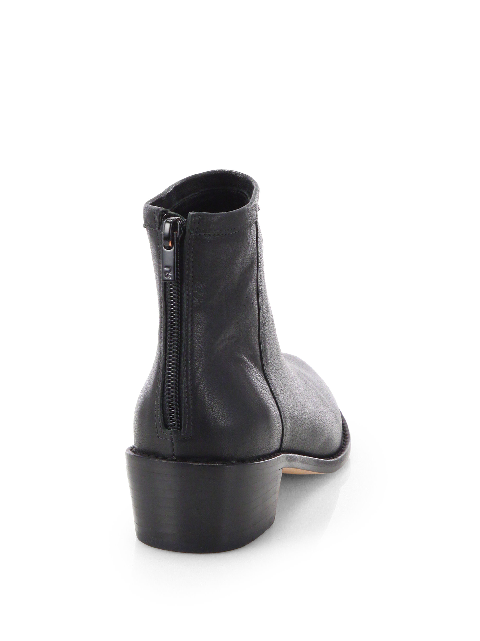 3023106d043 Loeffler Randall Black Felix Leather Ankle Boots