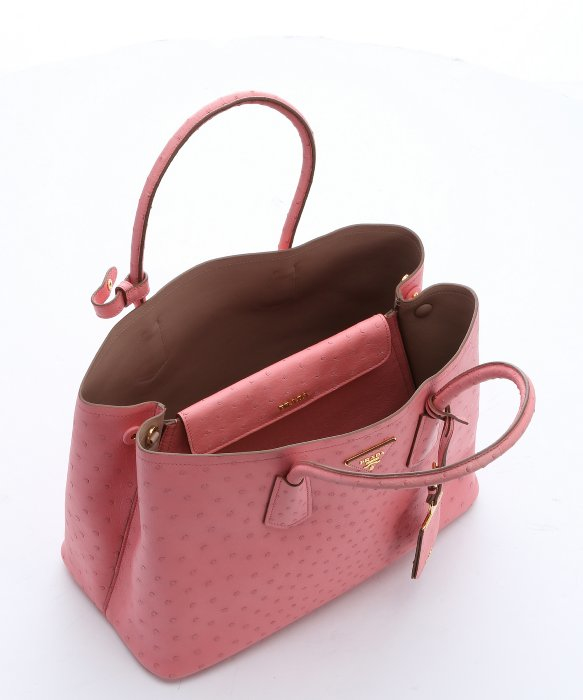 0218b580f0 ... bag d546c 85226 order prada rose ostrich leather city convertible tote  in pink lyst cf550 f0b10 ...
