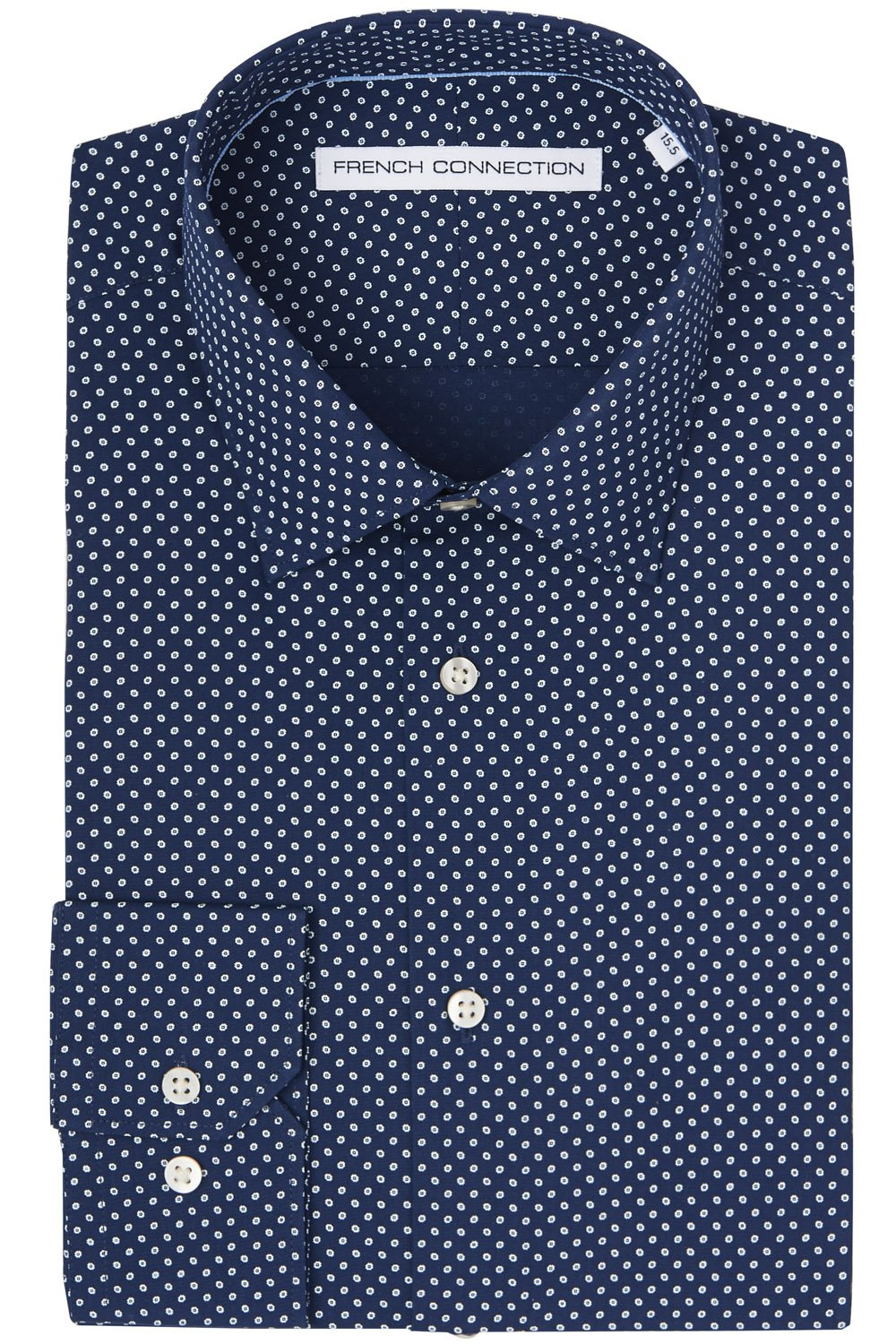 Lyst french connection slim fit navy single cuff mini for Single cuff dress shirt