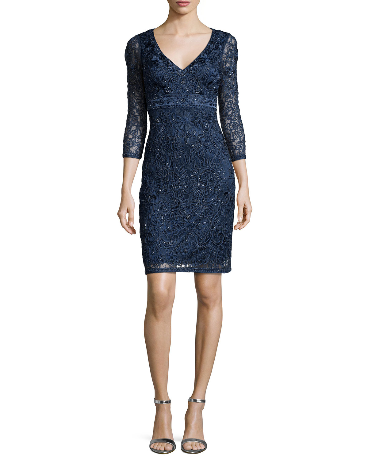 Lyst sue wong embroidered sleeve lace dress in blue