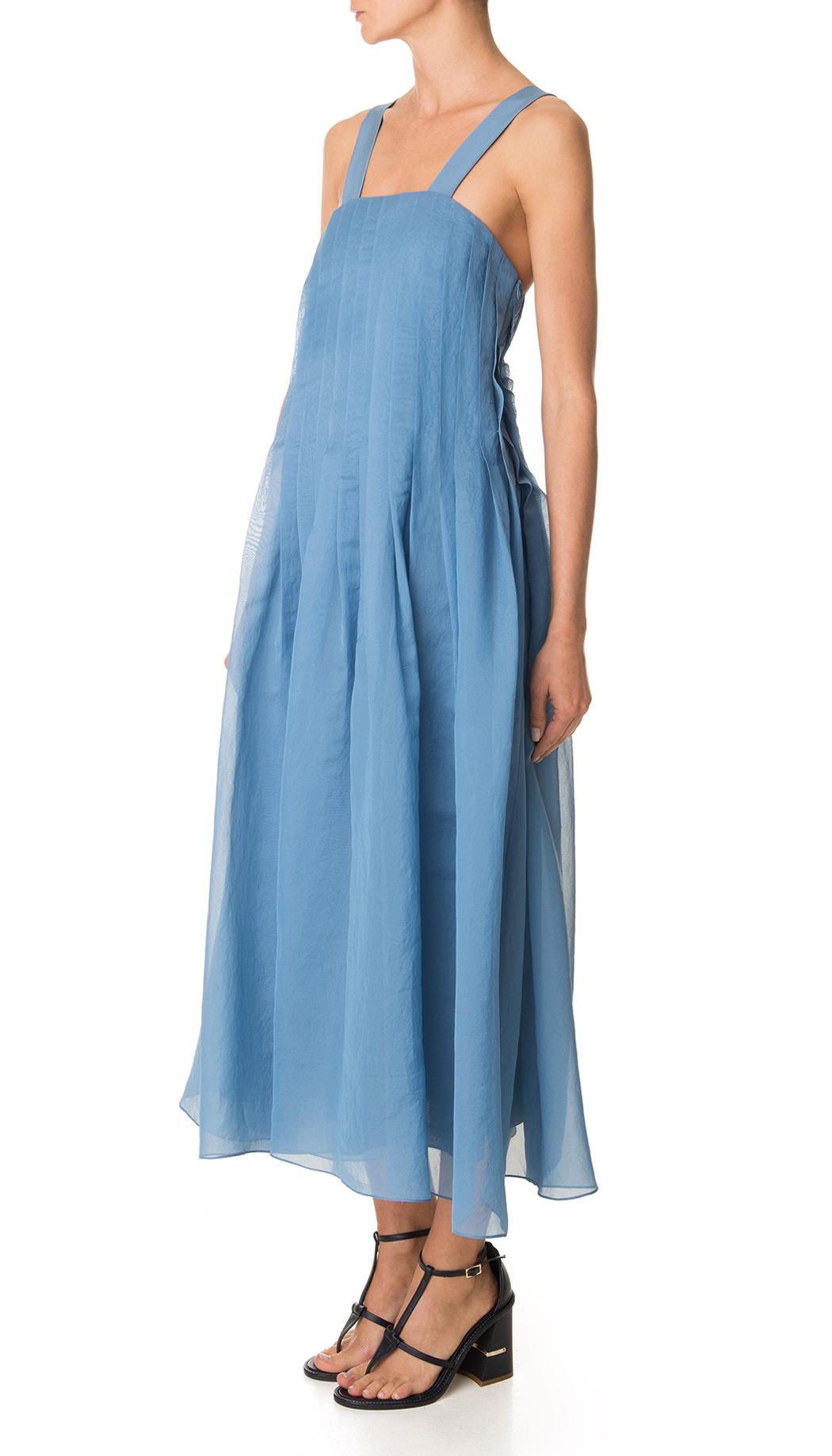 Tibi Isa Organza Pleated Dress in Blue | Lyst