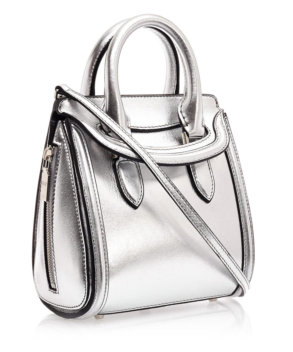 Alexander Mcqueen Mini Silver Heroine Leather Bag In