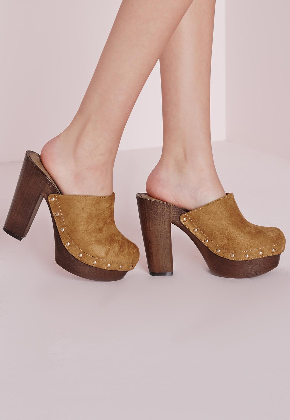 Missguided Studded Block Heel Clogs Tan