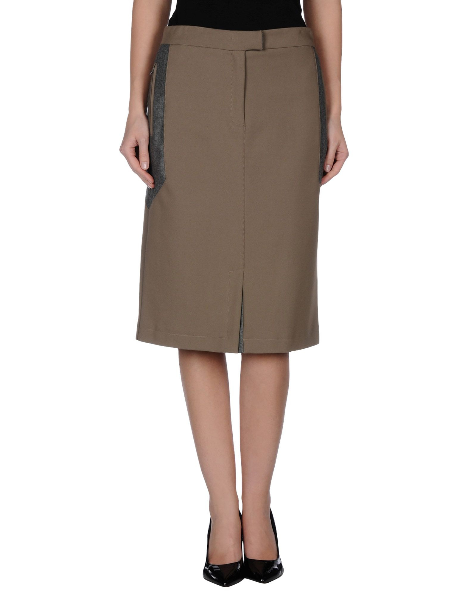 knee length skirt in khaki lyst