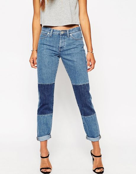 Asos Brady Low Rise Slim Boyfriend Jeans In Patty Mid Wash With Patches in Blue (Pattymidwash ...