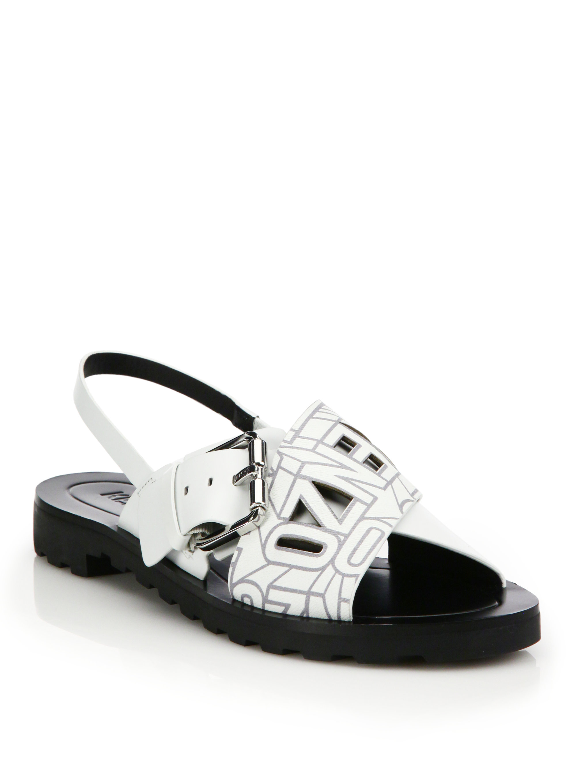 Kenzo Logo Leather Crossover Slingback Sandals In White Lyst