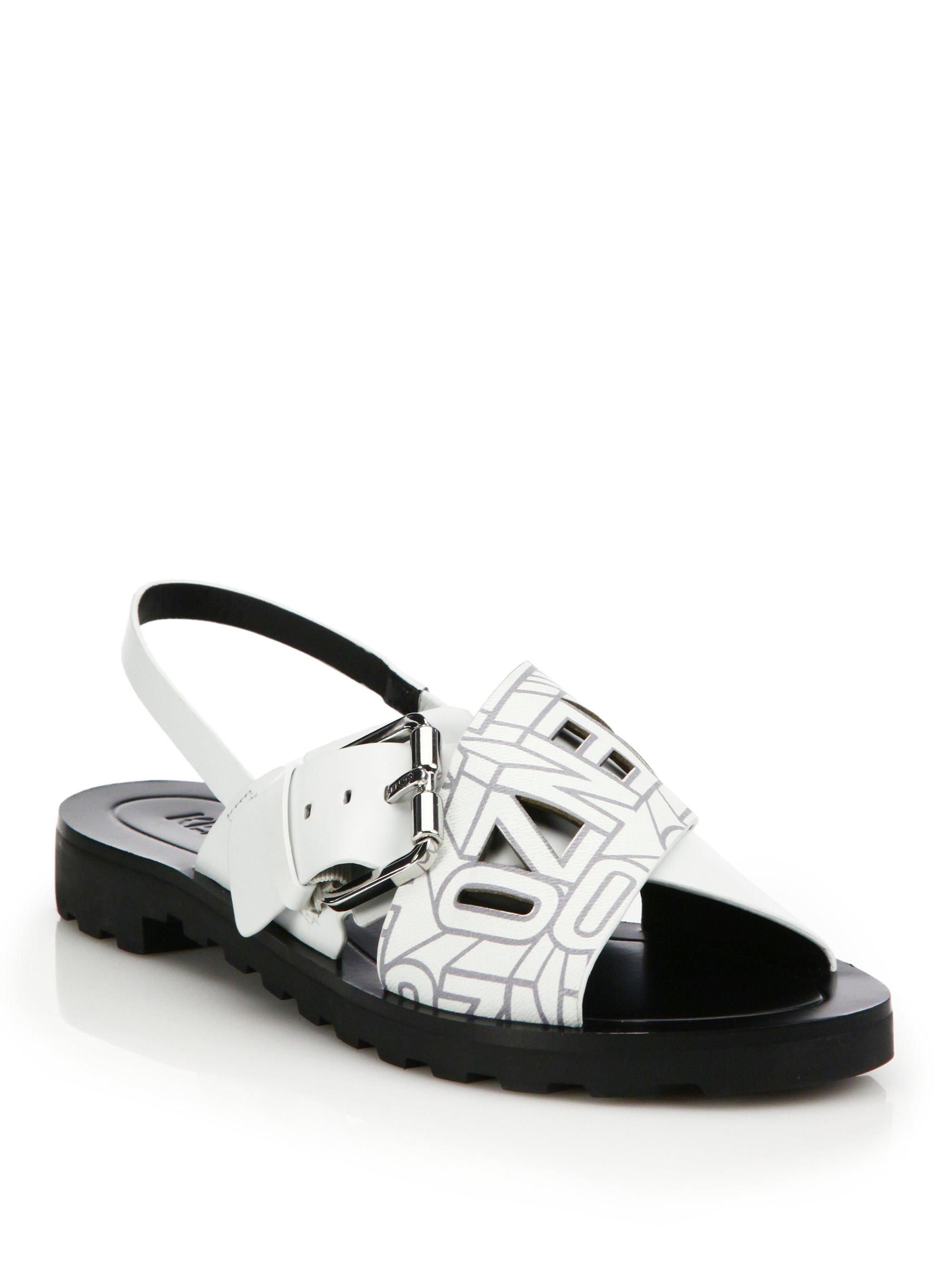 Kenzo Black Leather Slides yWoMsEYx