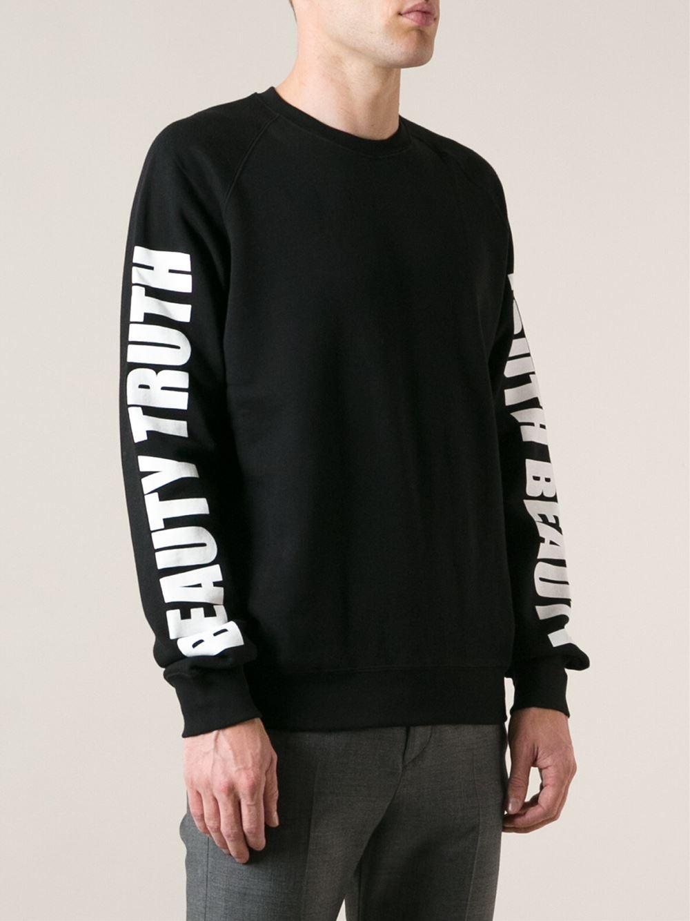 Msgm Printed Cotton Terry Sweatshirt In Black Lyst