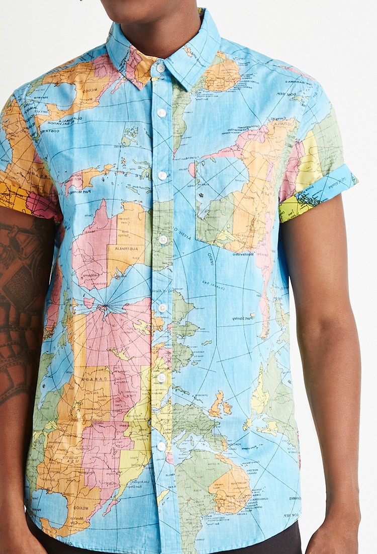 Forever 21 Reverse Map-Print Cotton Shirt in Blue for Men | Lyst