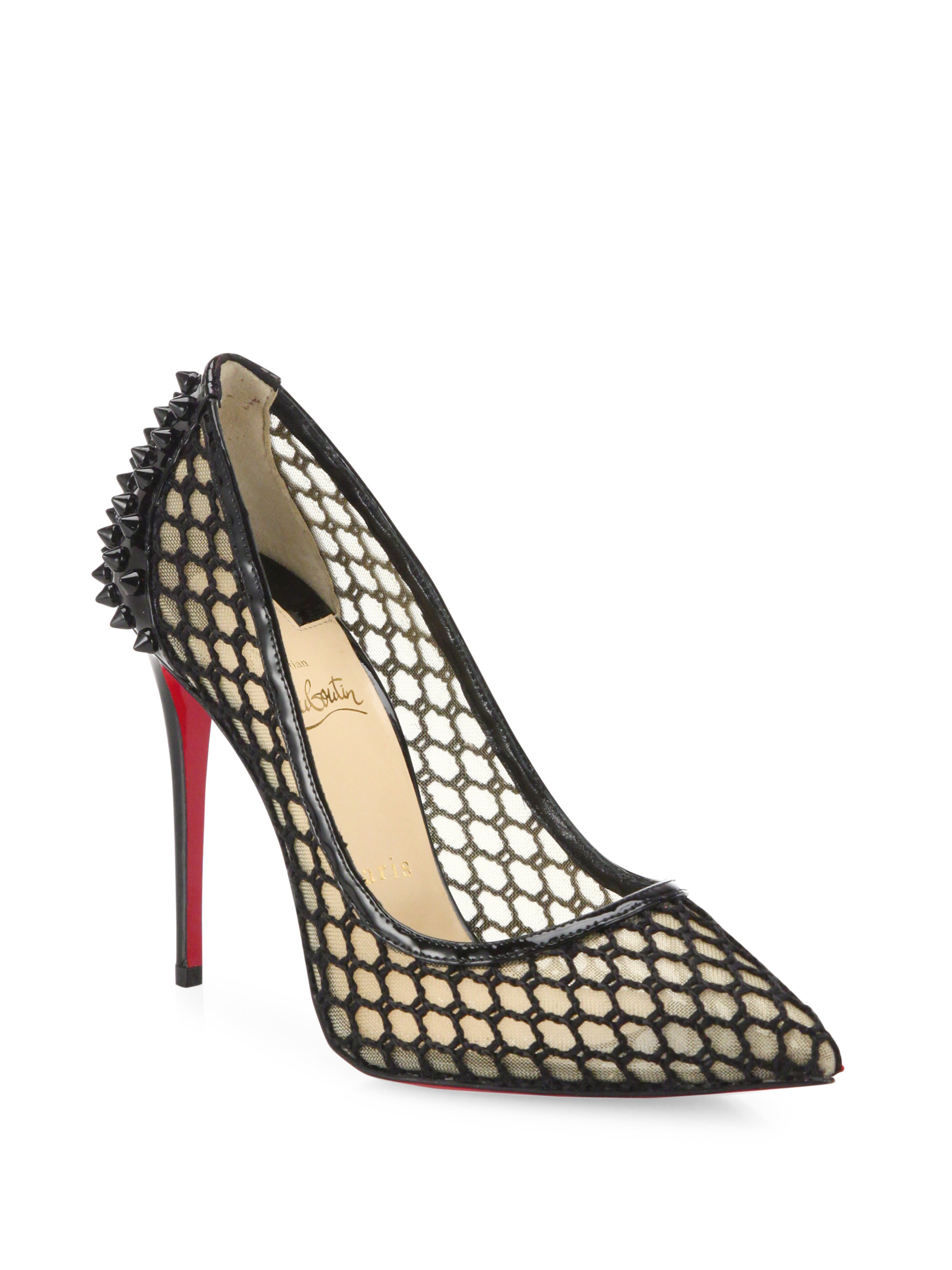 Christian louboutin Guni Patent-trim Spiked Mesh Pumps in Black | Lyst