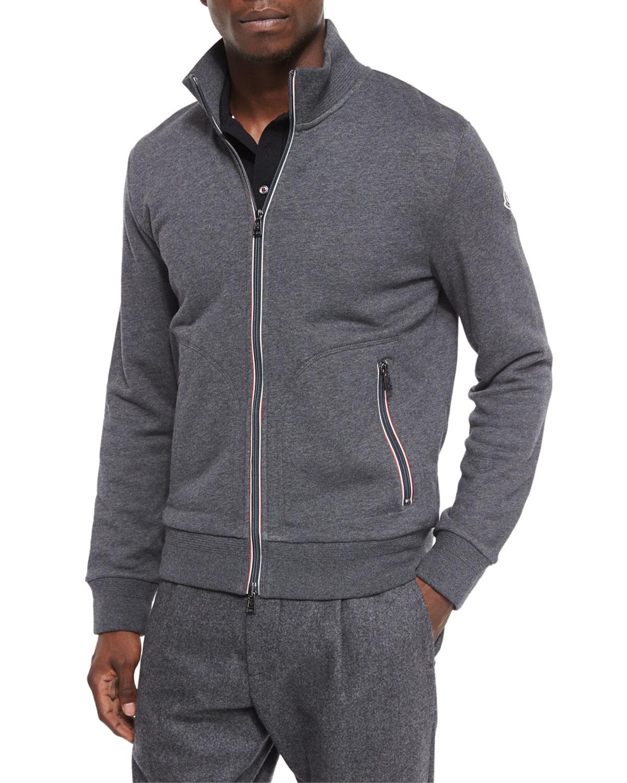 Moncler Full-Zip Cotton Track Jacket in Gray for Men