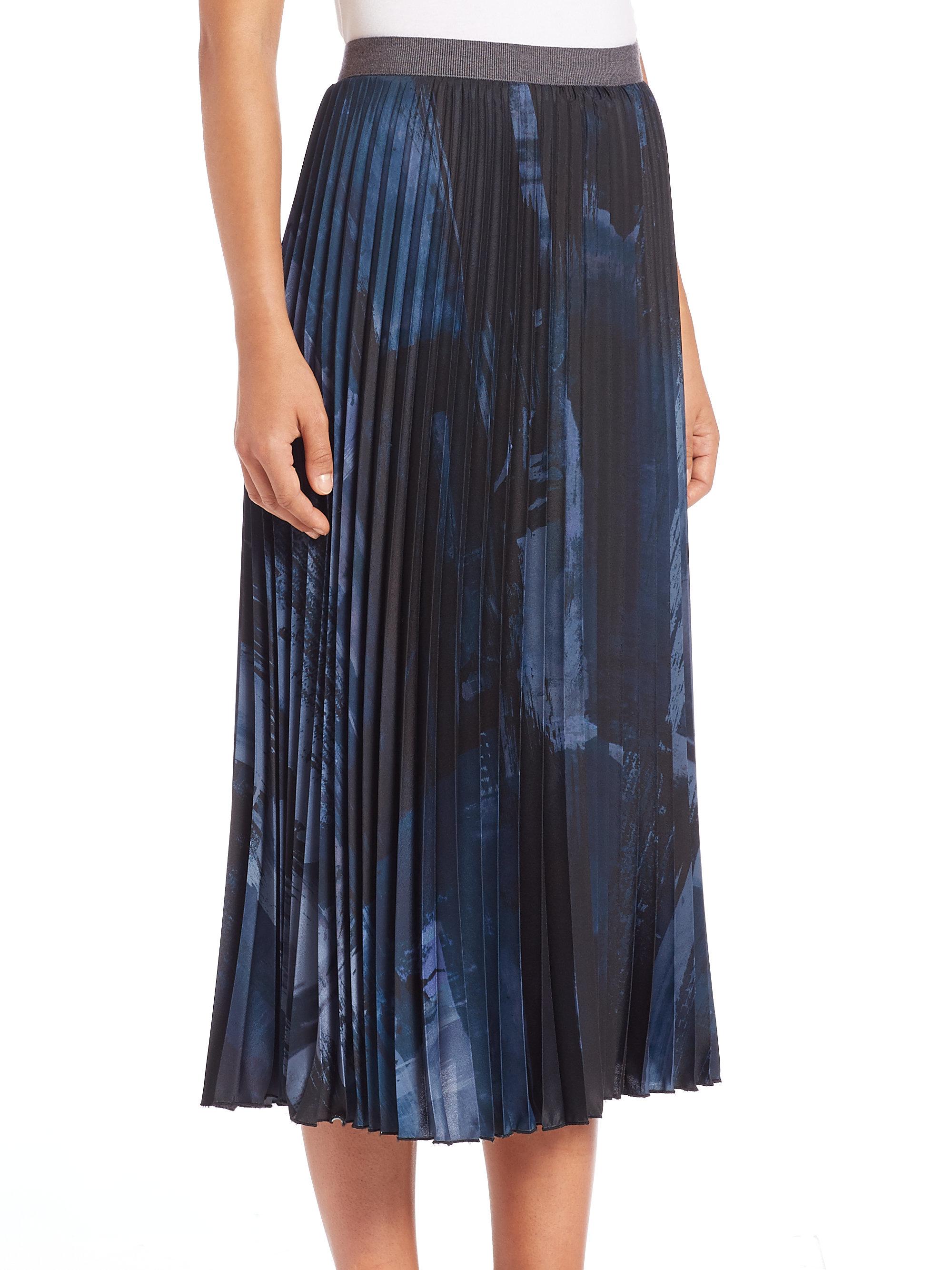 53392b9fd Weekend by Maxmara Petalo Abstract-print Pleated Midi Skirt in Blue ...