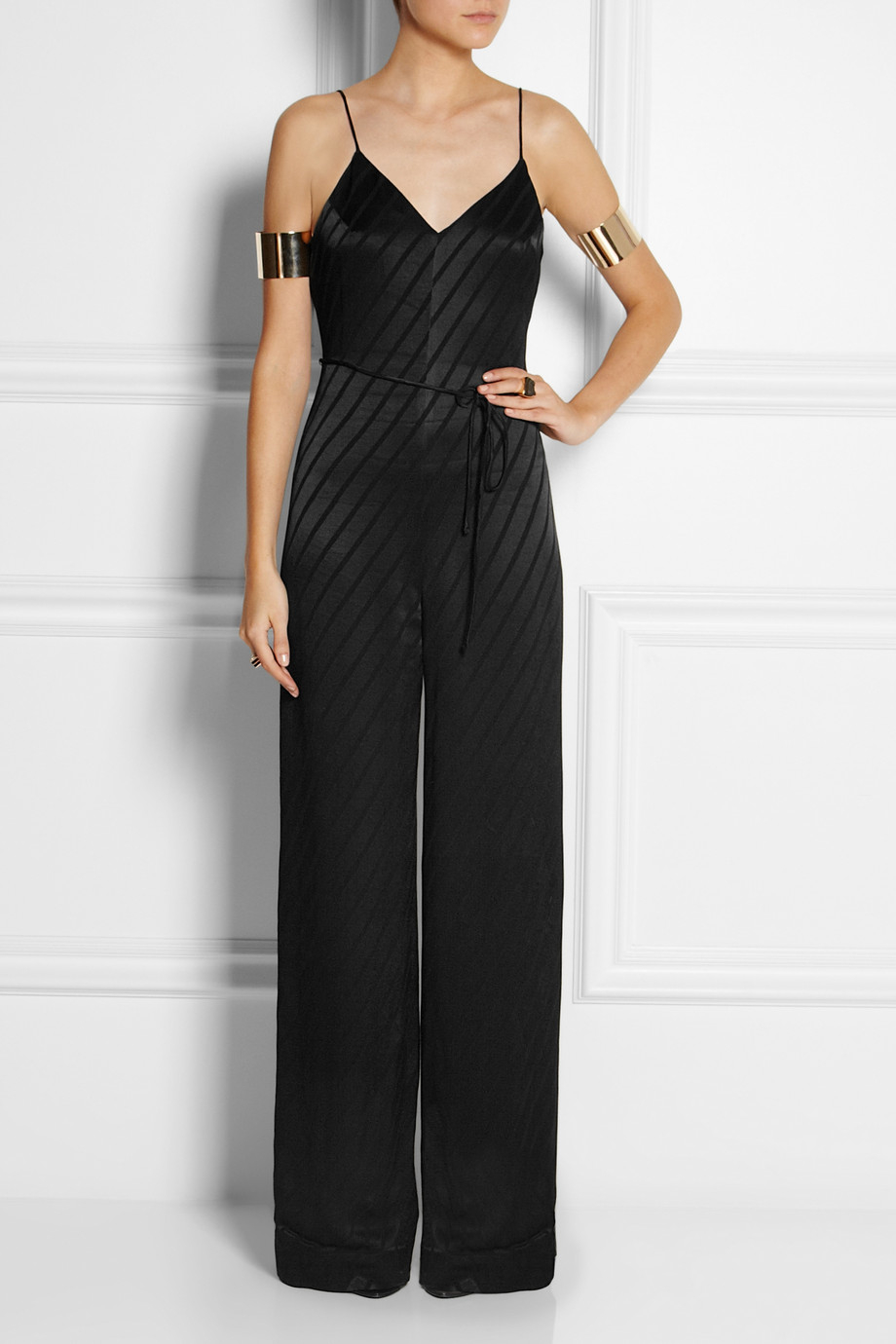 Topshop Striped Satin Jumpsuit In Black Lyst
