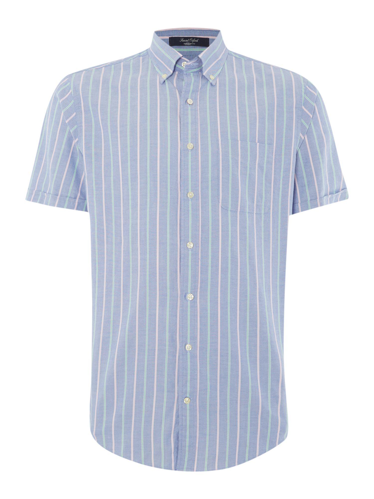 Gant Oxford Stripe Short Sleeve Shirt In Blue For Men Lyst
