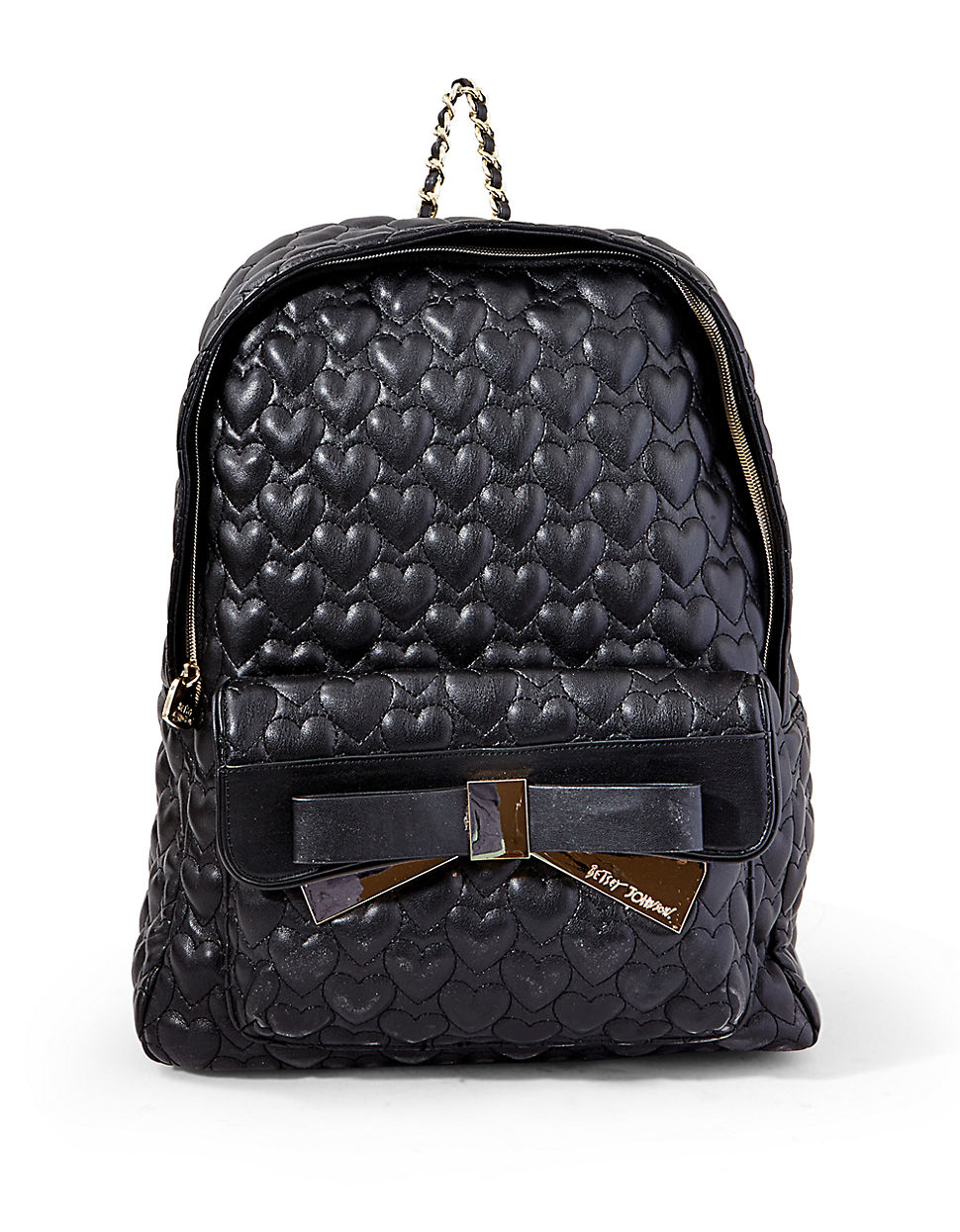 Betsey Johnson Quilted Heart Backpack In Black Lyst