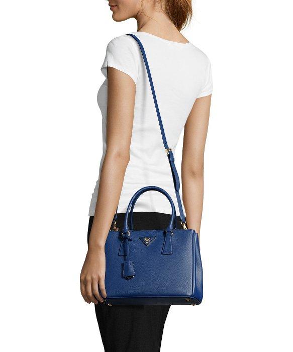 4aca323d20 ... new zealand lyst prada blue saffiano leather convertible top handle bag  in blue 425b6 2d584