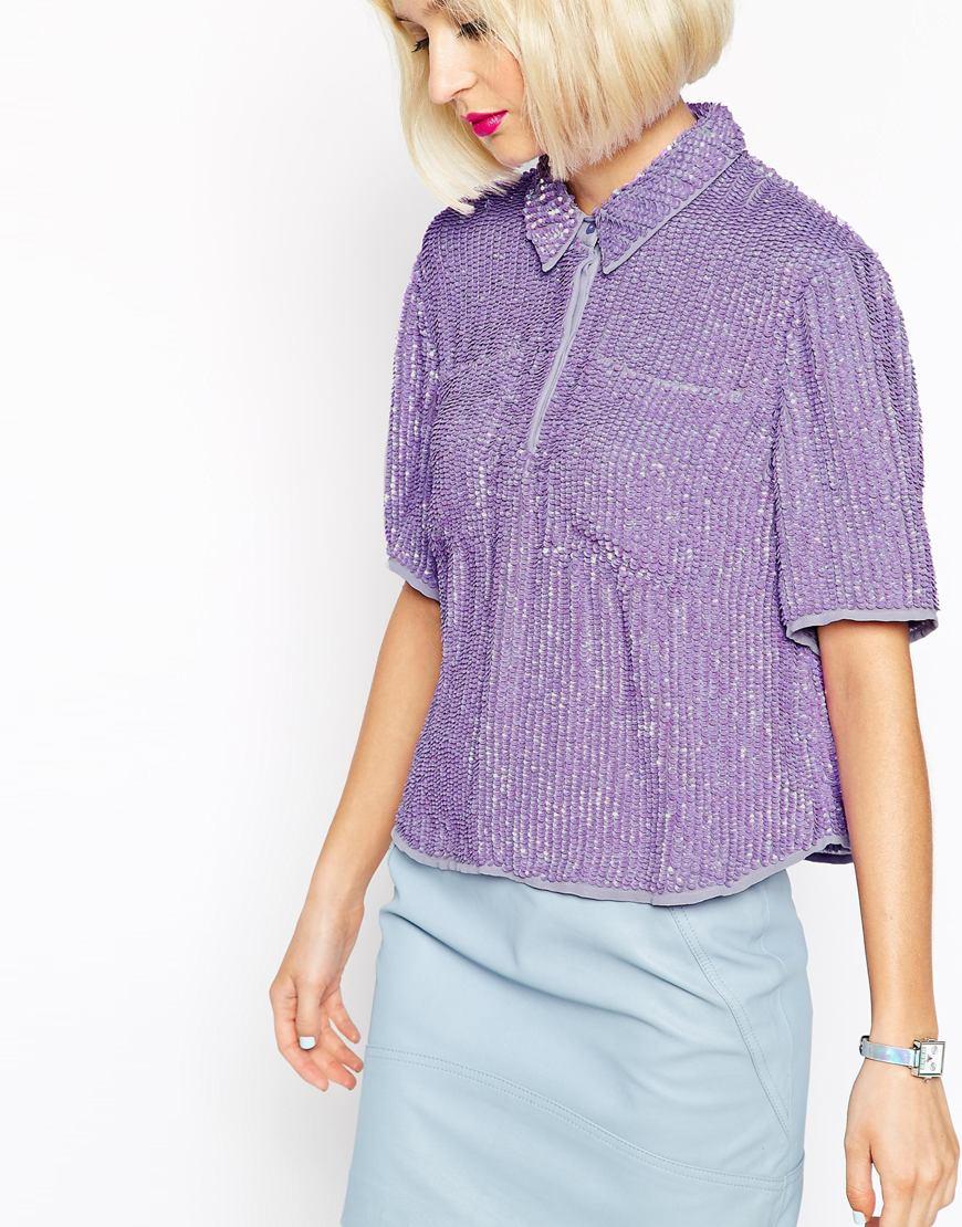 lyst asos sequin t shirt in purple. Black Bedroom Furniture Sets. Home Design Ideas