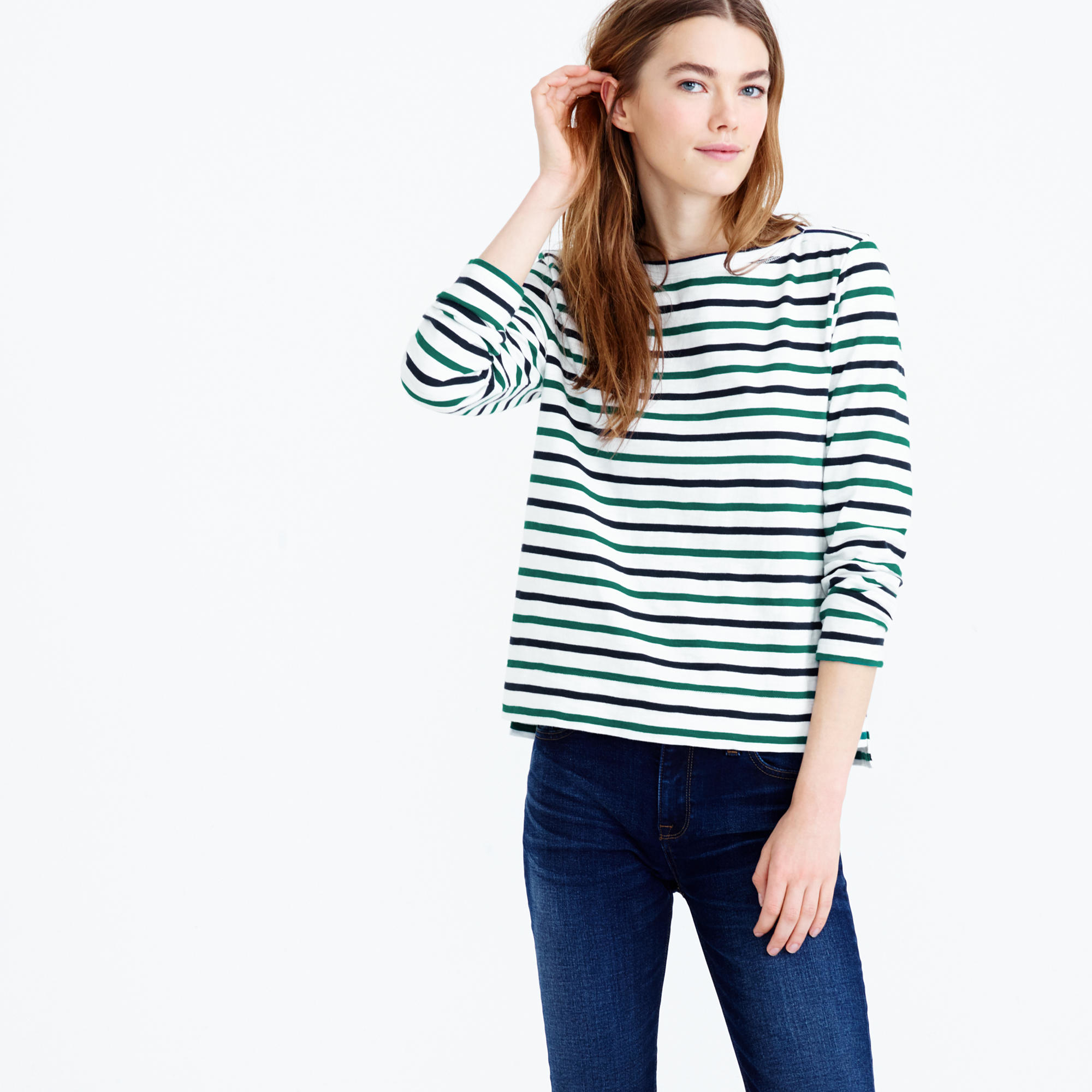 cf7672ae9a J.Crew Midweight Colorful Striped Boatneck T-shirt in White - Lyst