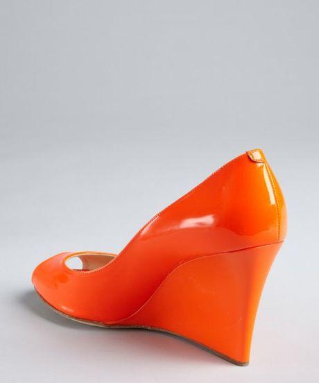 Jimmy Choo Neon Orange Patent Leather Baxen Peep Toe