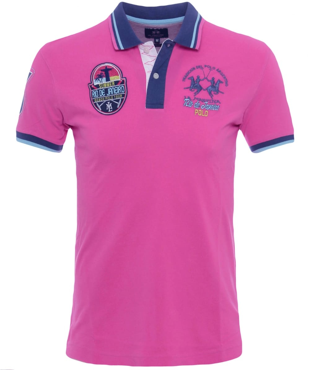 lyst la martina slim fit malco polo shirt in pink for men. Black Bedroom Furniture Sets. Home Design Ideas