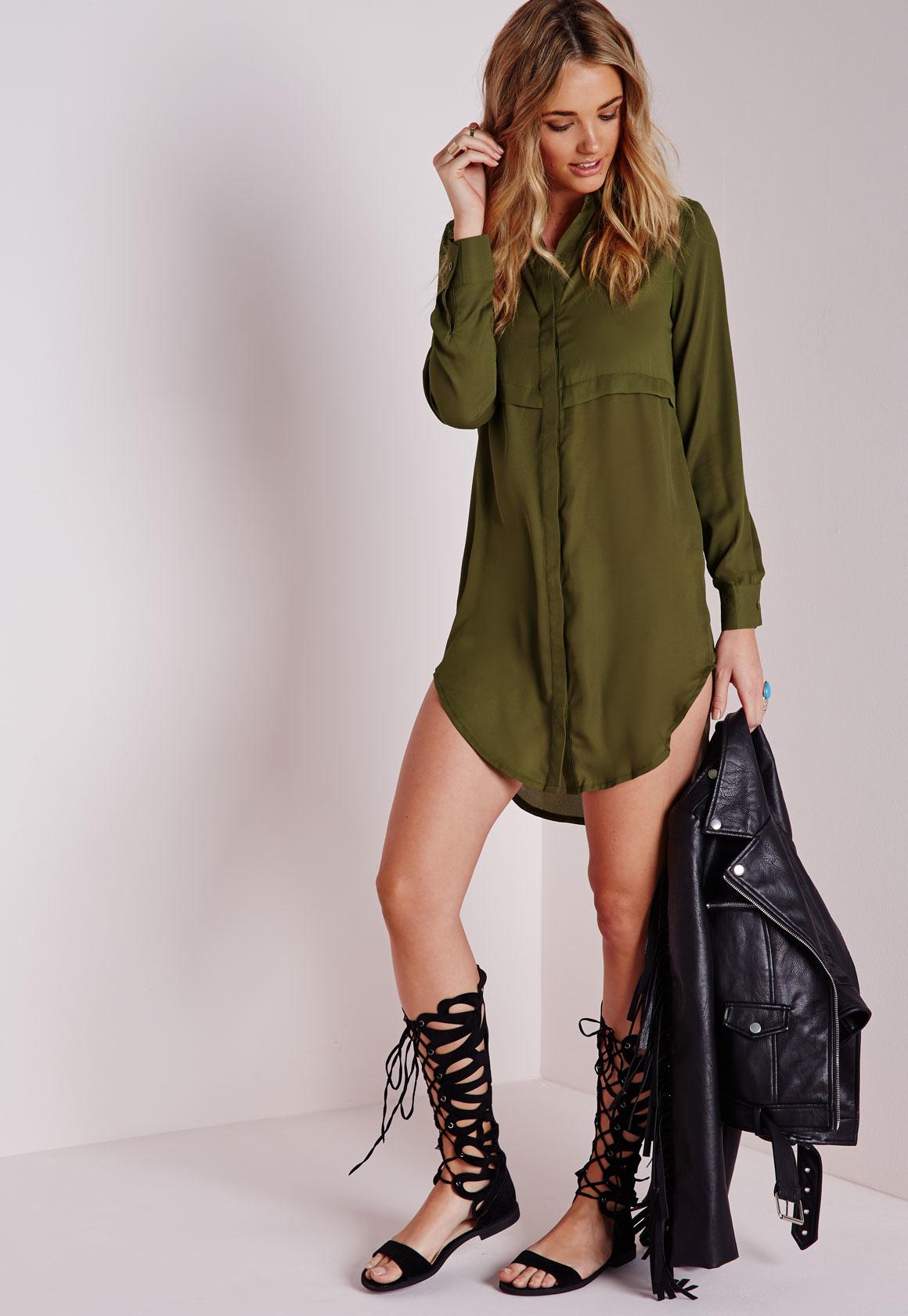 Lyst Missguided Oversized Shirt Dress Khaki In Green