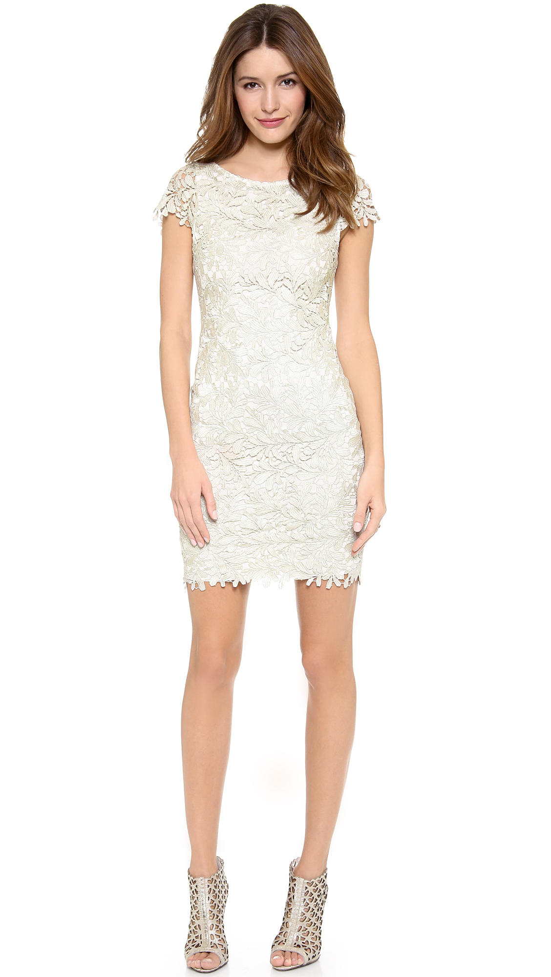 Lyst - Alice + olivia Alice Olivia Clover Lace Fitted Midi ...