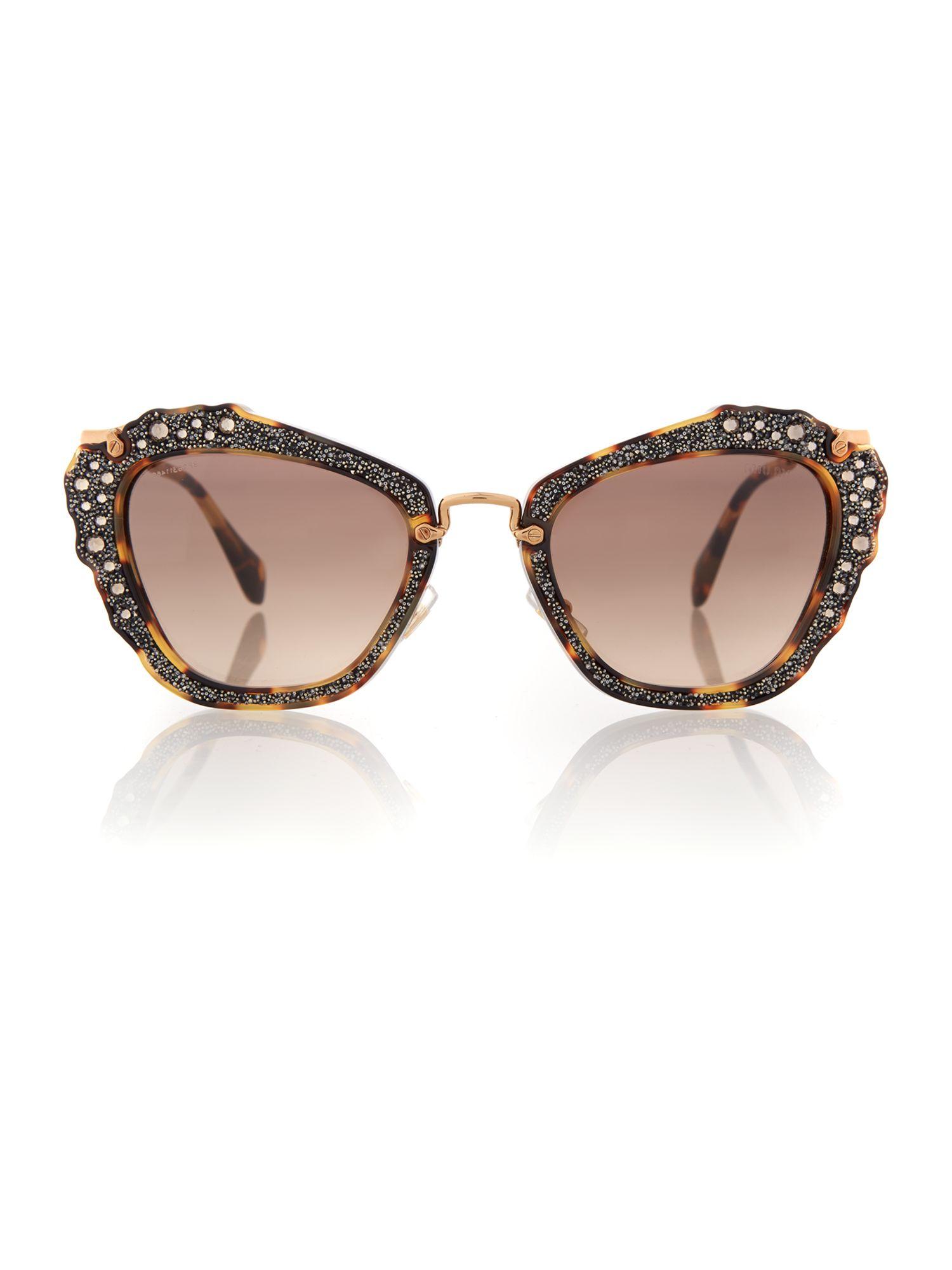 Miu Miu 0mu 04qs Cat Eye Sunglasses in Brown
