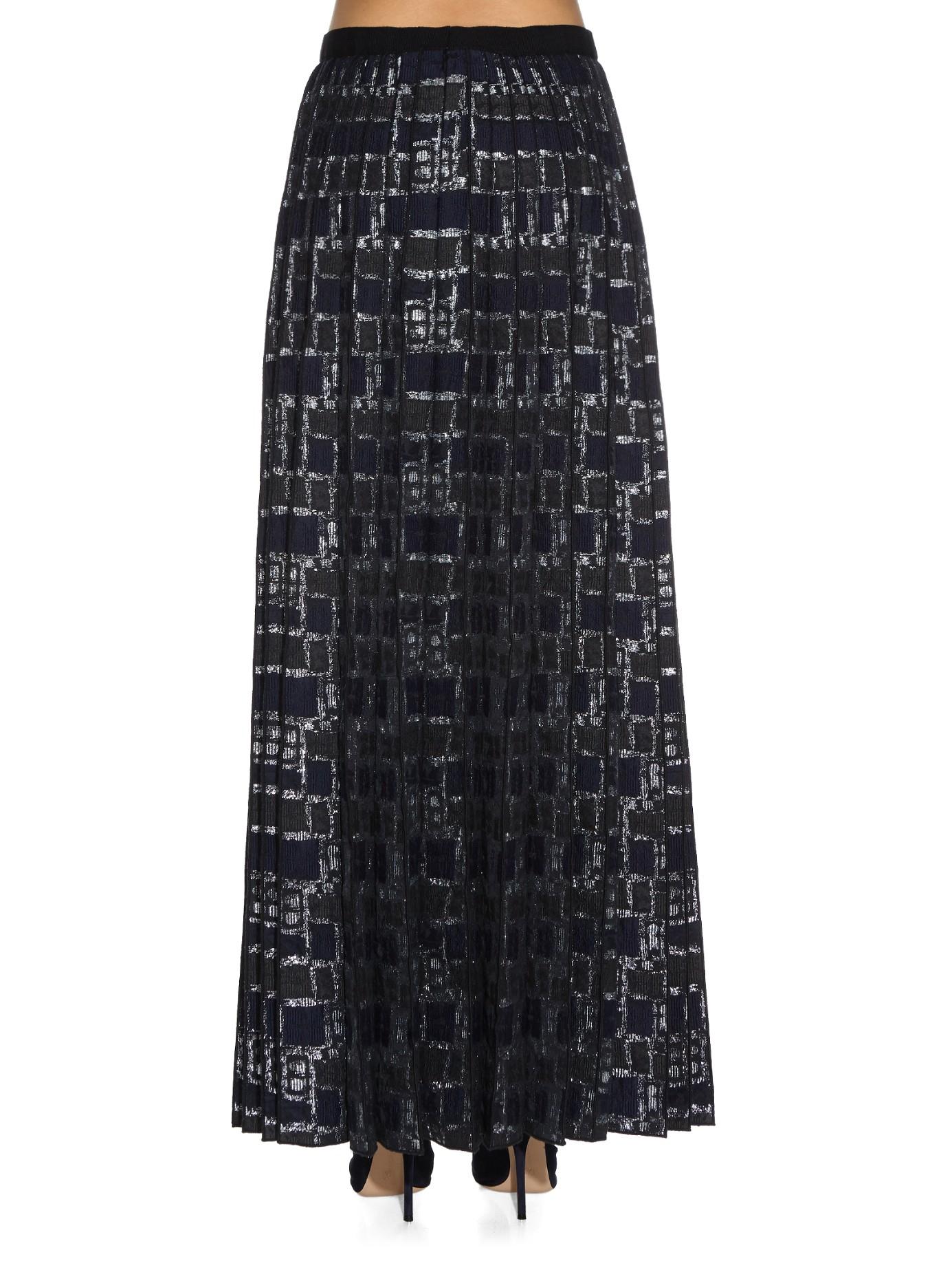 marc box pleat jacquard maxi skirt in blue lyst