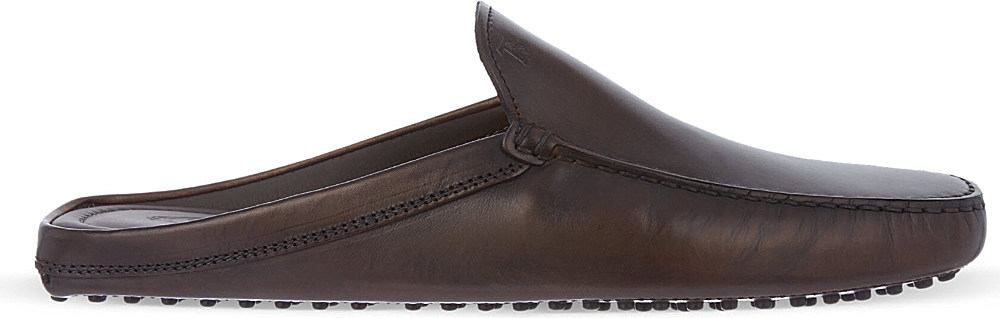 new styles affordable price casual shoes Tod's Backless Gommino Driving Shoes In Leather in Brown (Black ...
