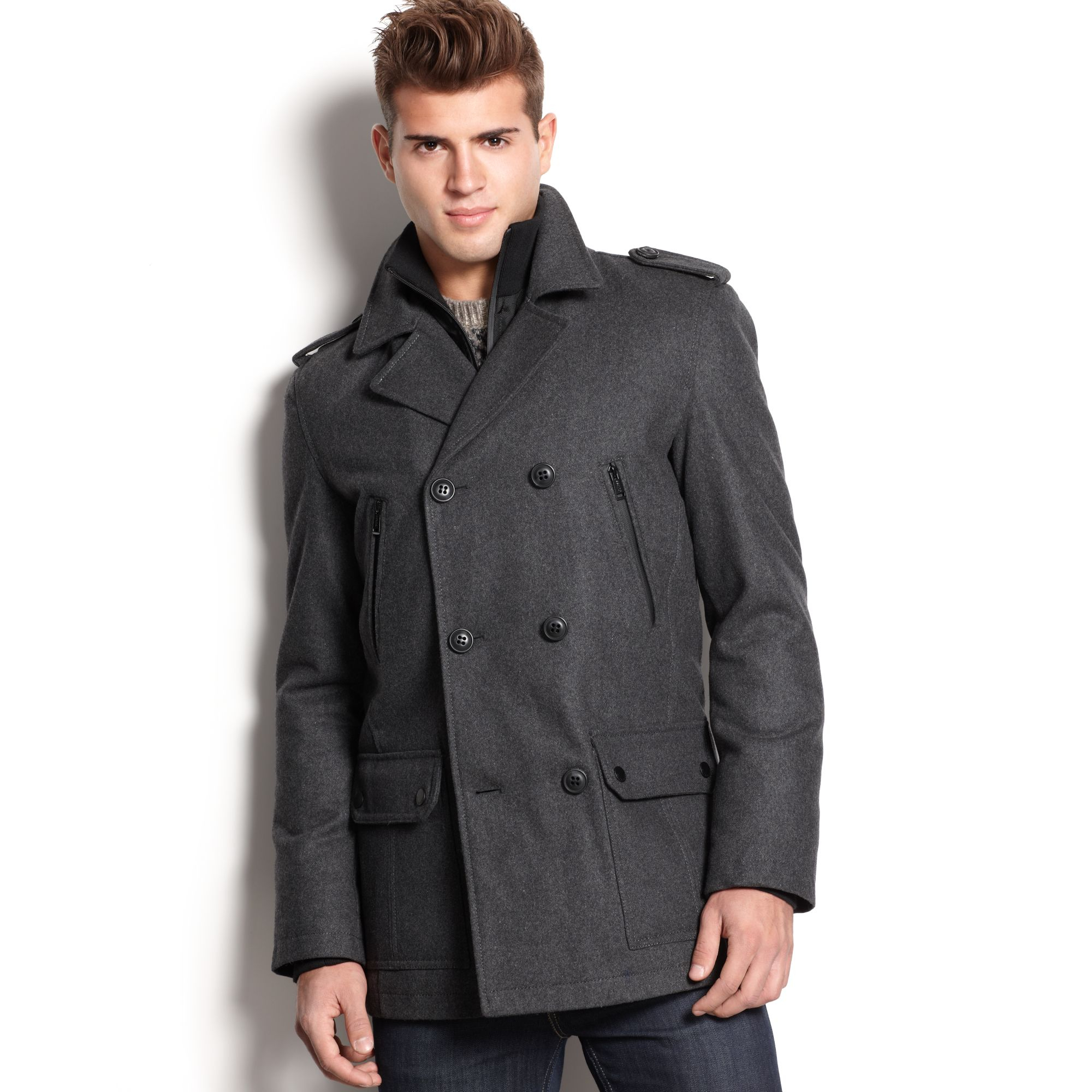 tommy hilfiger mens double breasted pea coat | AmericanMedSupply.com