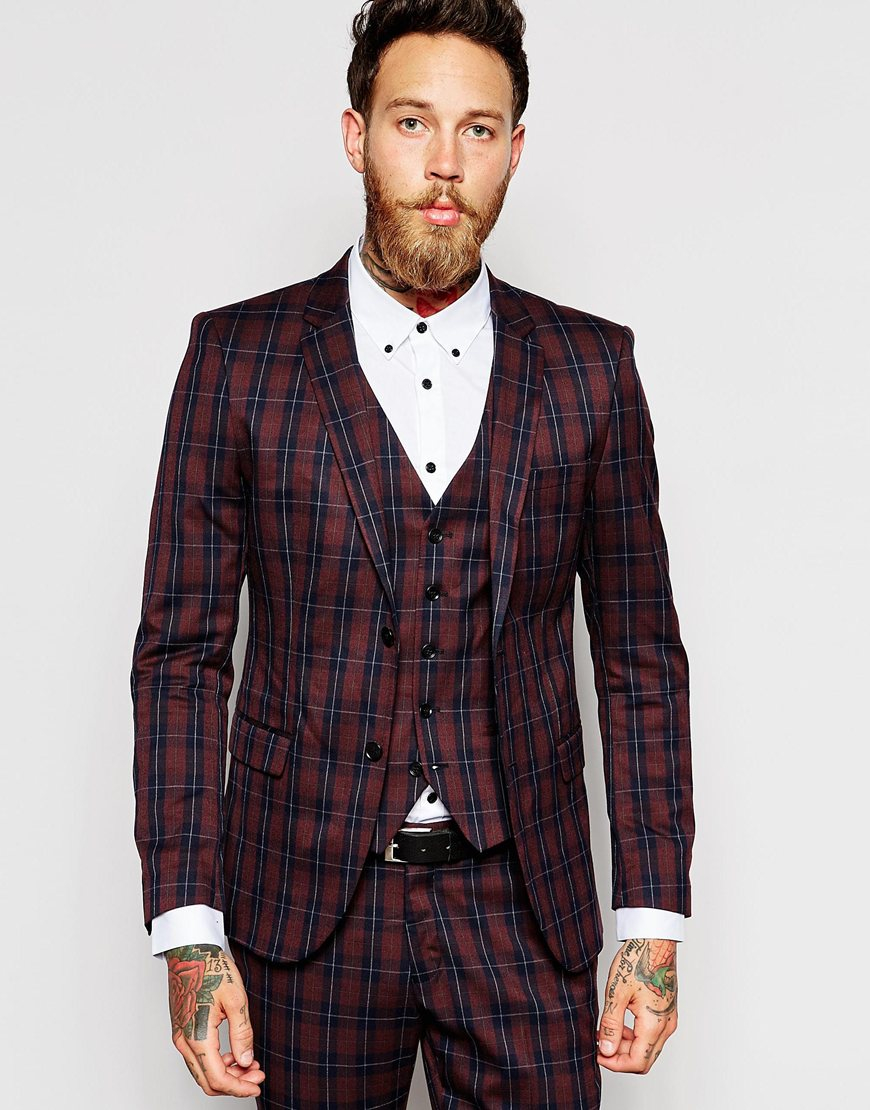 Selected Exclusive Tartan Suit Jacket In Skinny Fit in Purple for ...