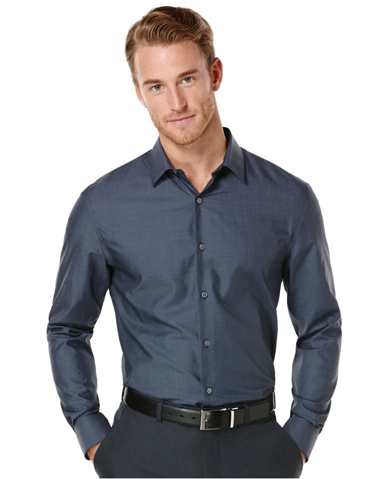 Lyst perry ellis solid no iron shirt in blue for men for No iron shirts mens