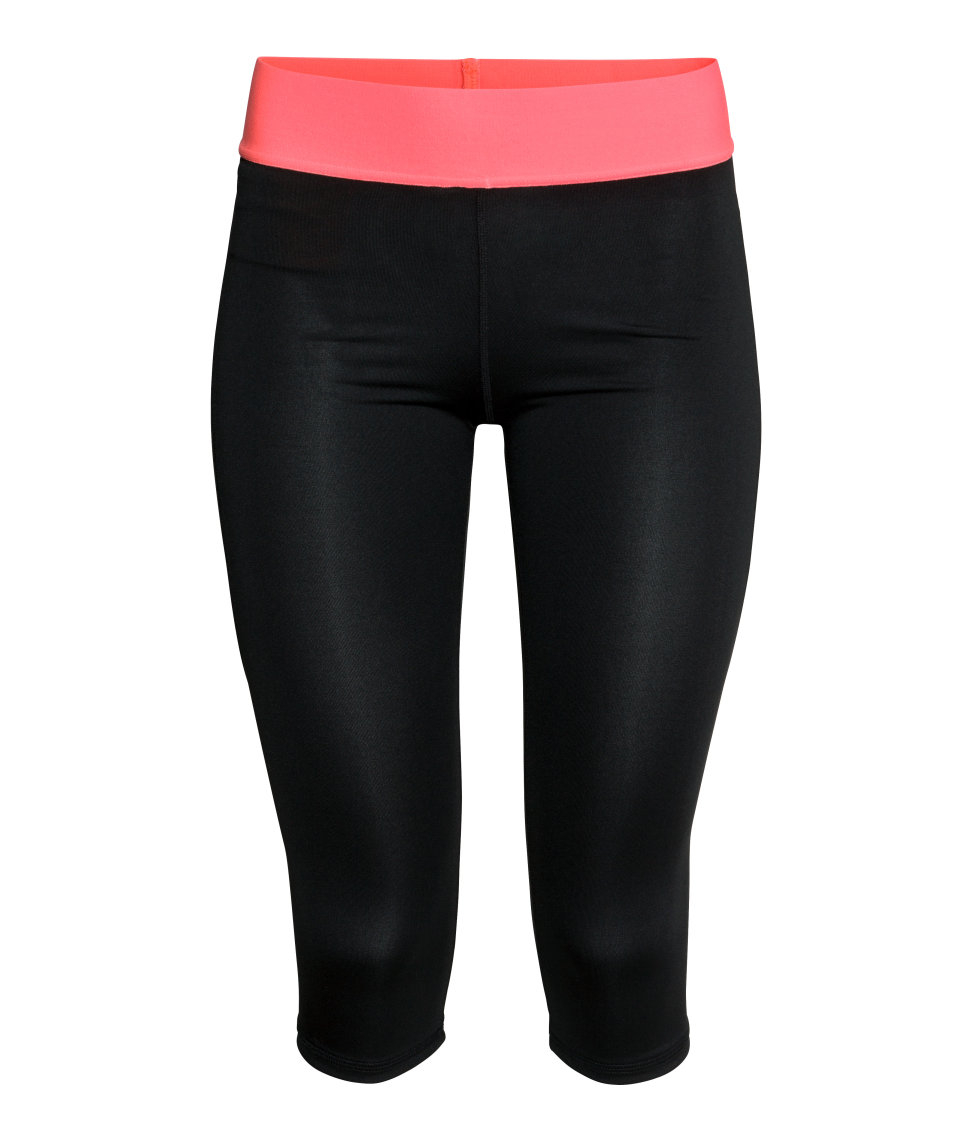 h m 3 4 length sports tights in pink black lyst. Black Bedroom Furniture Sets. Home Design Ideas