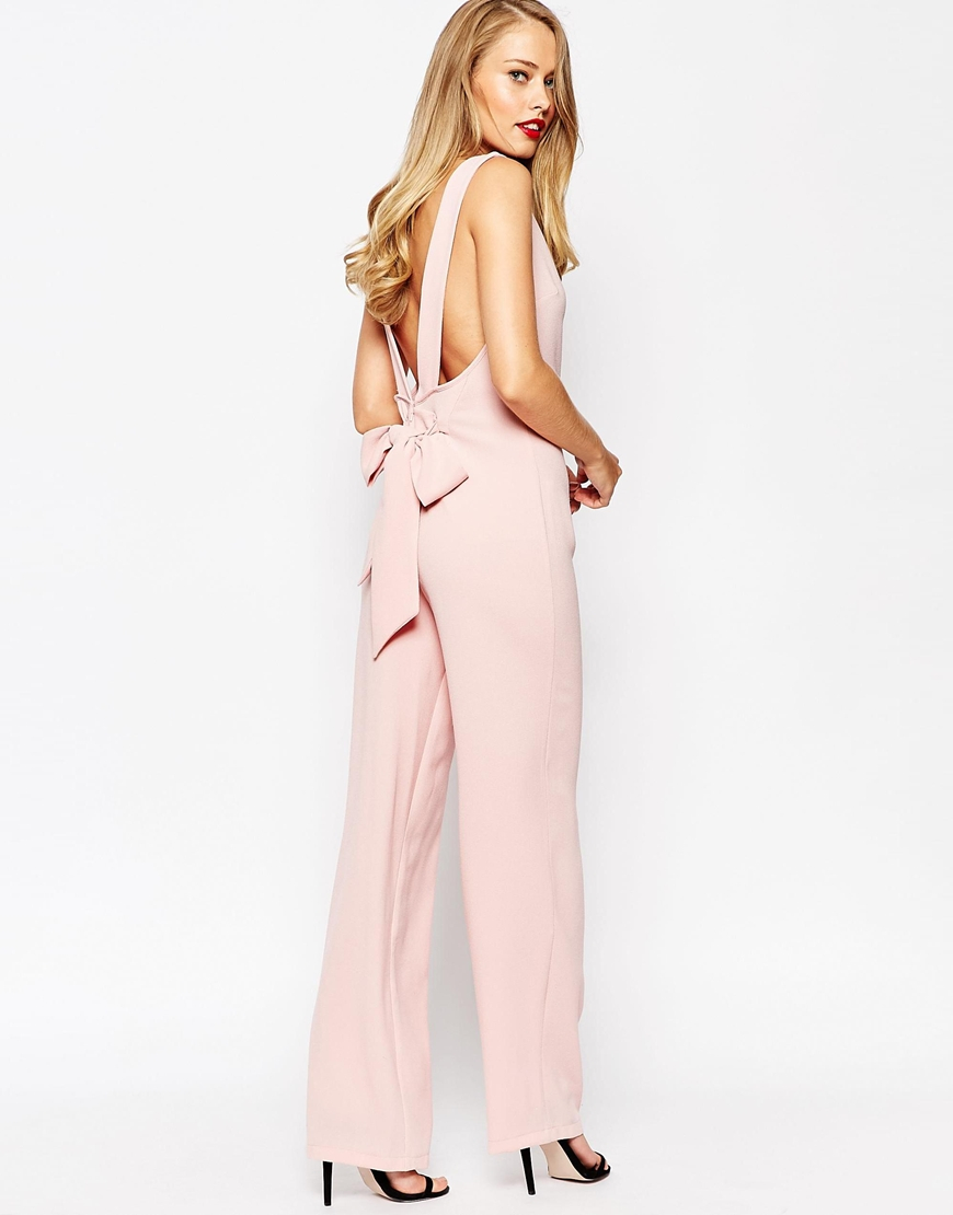 Asos Womens Cut Out Bow Back Jumpsuit Pink - Jumpsuits & Rompers