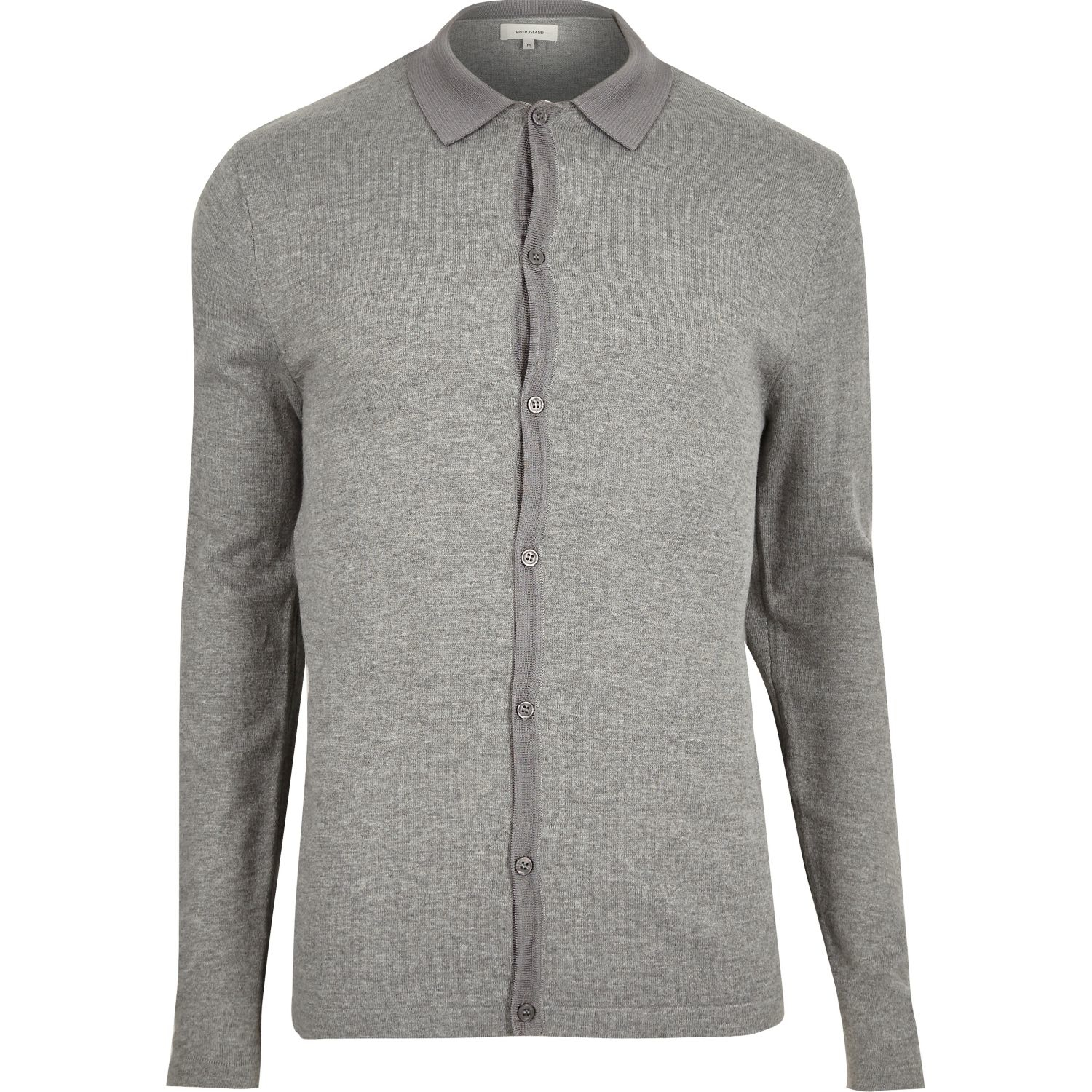 River island Grey Button-up Short Sleeve Sweater in Gray for Men ...
