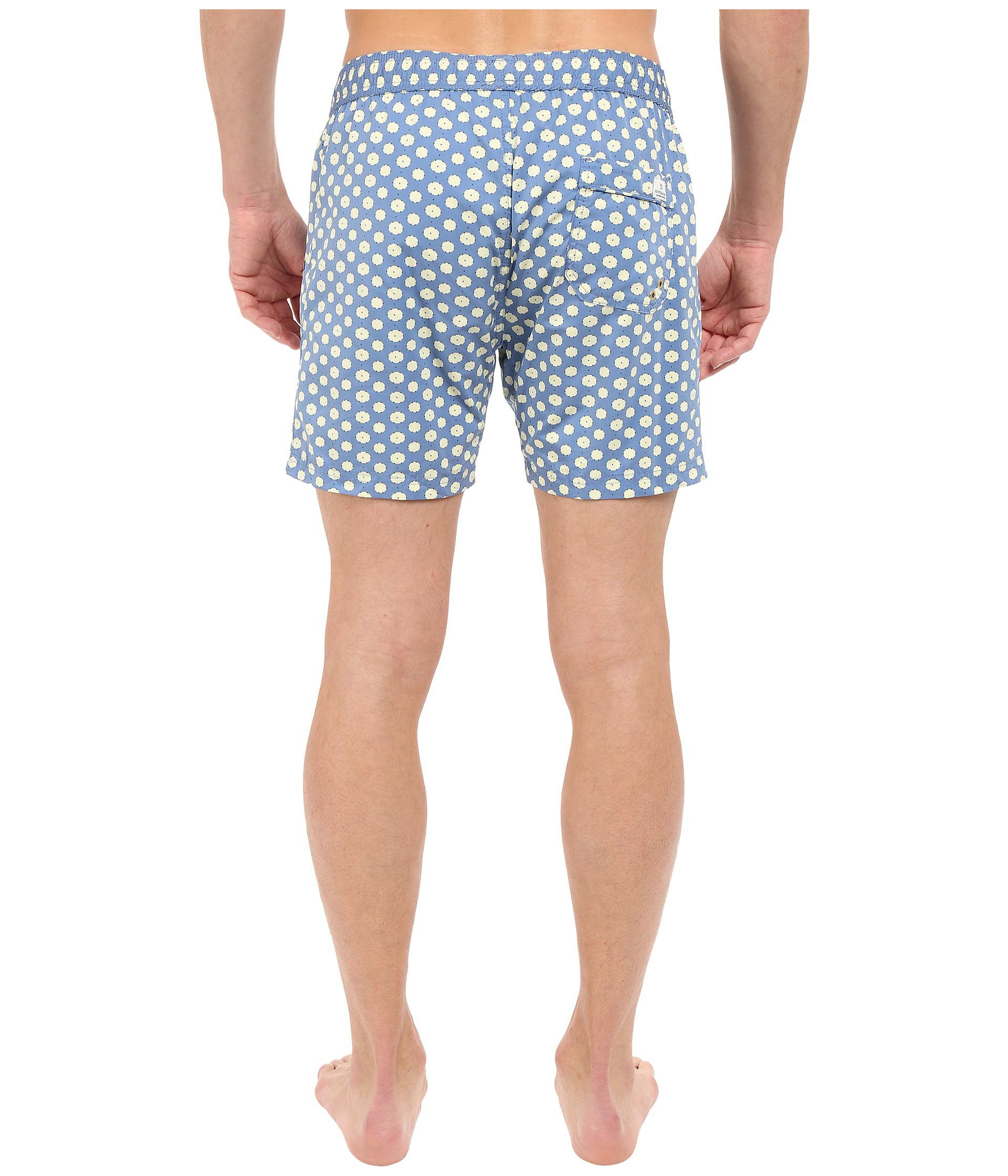 Women's Blue Medium Length Swim Shorts With Cut & Sewen Parts In 4 Solids