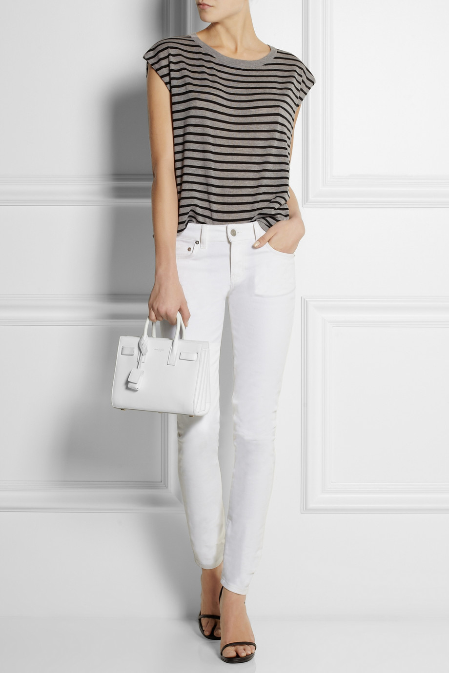 Saint Laurent Sac De Jour Nano Baby Leather Tote In White