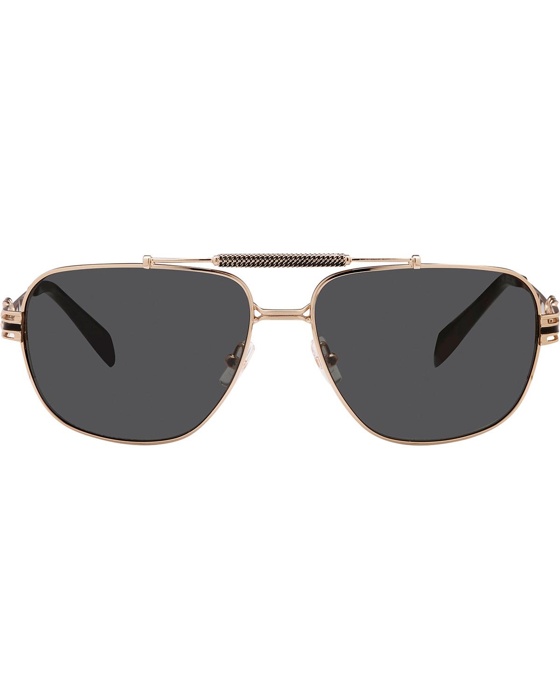 Balmain Studio Aviator Sunglasses  balmain metal chain rim rectangle aviator sunglasses in metallic