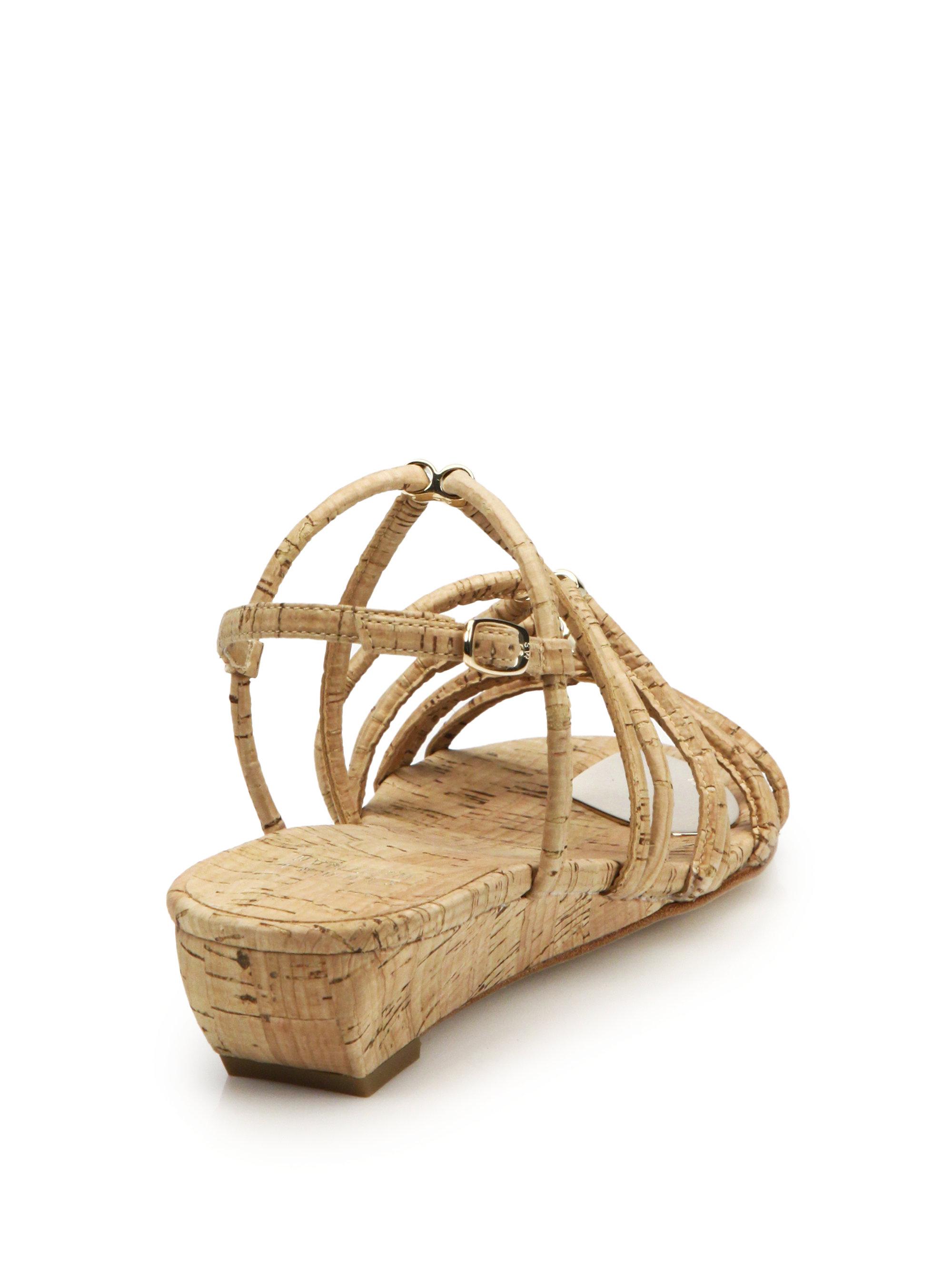 stuart weitzman nuts cork wedge sandals in brown lyst