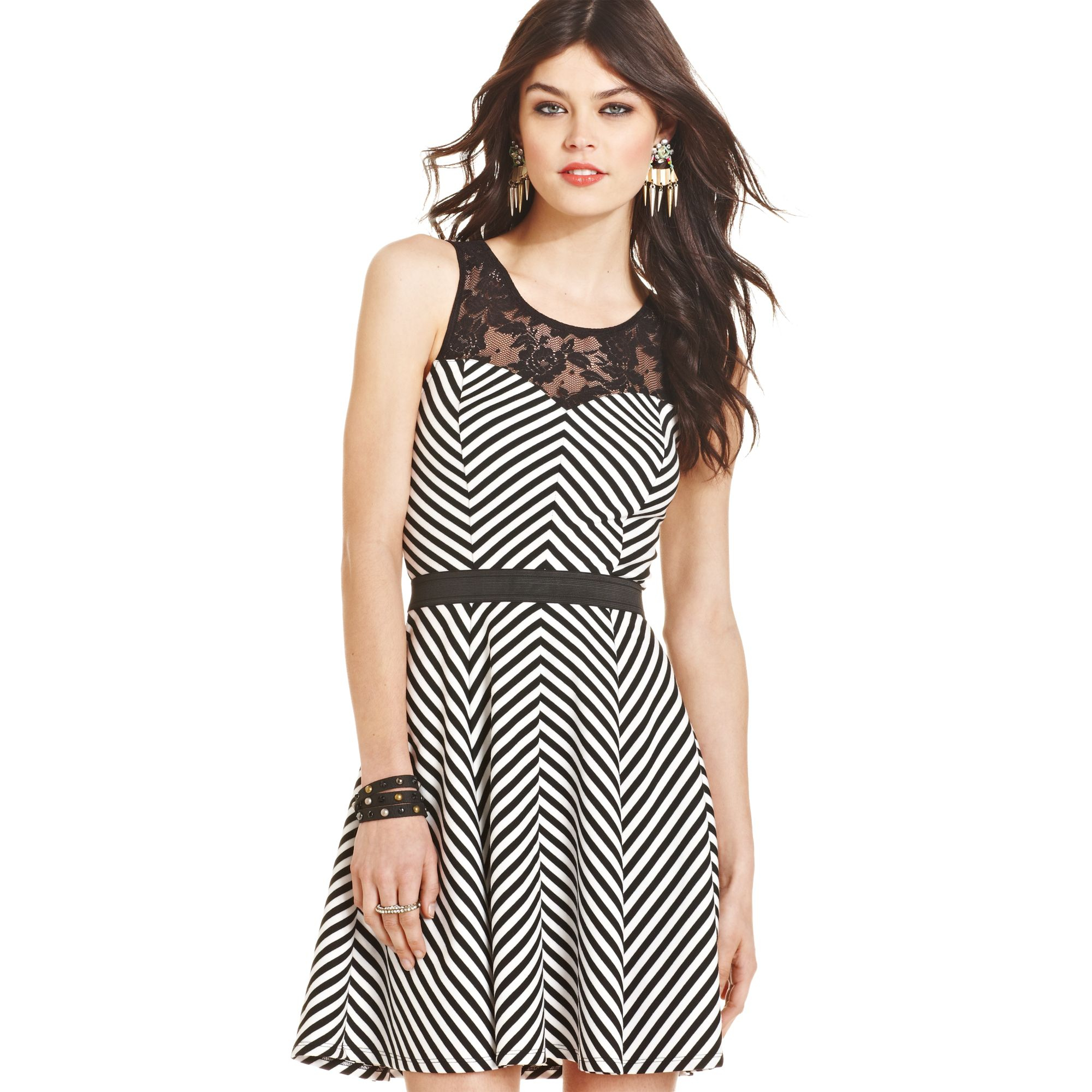 3bee11a410 Lyst Material Juniors Printed Illusion Skater Dress In Black