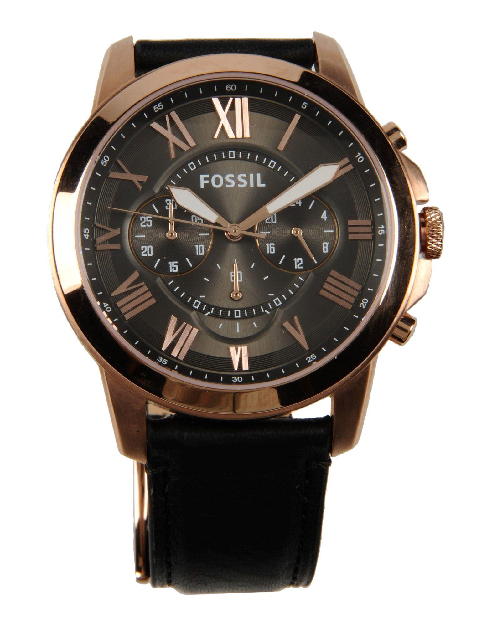 Fossil Leather Wrist Watch in Grey (Metallic) for Men - Lyst