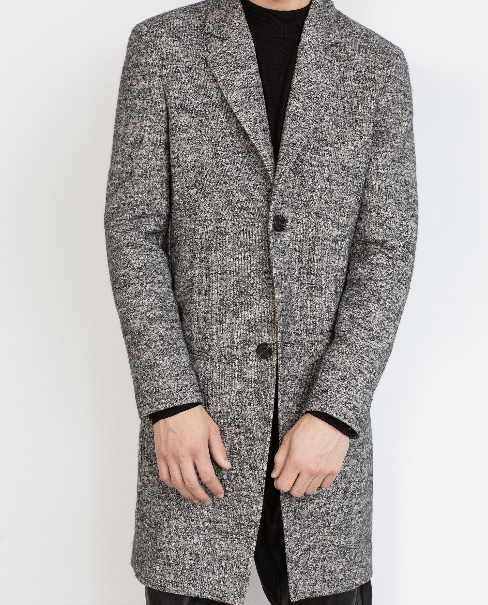 Zara Flecked Coat In Gray For Men Grey Lyst