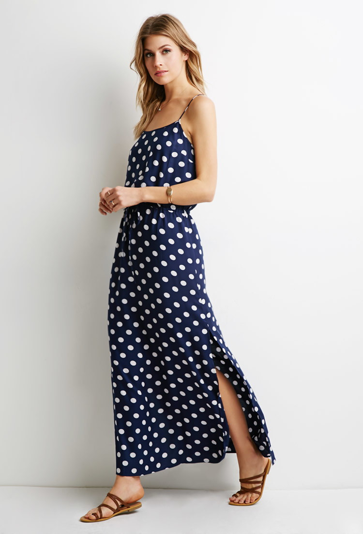 Forever 21 Contemporary Polka Dot Maxi Dress in Blue | Lyst