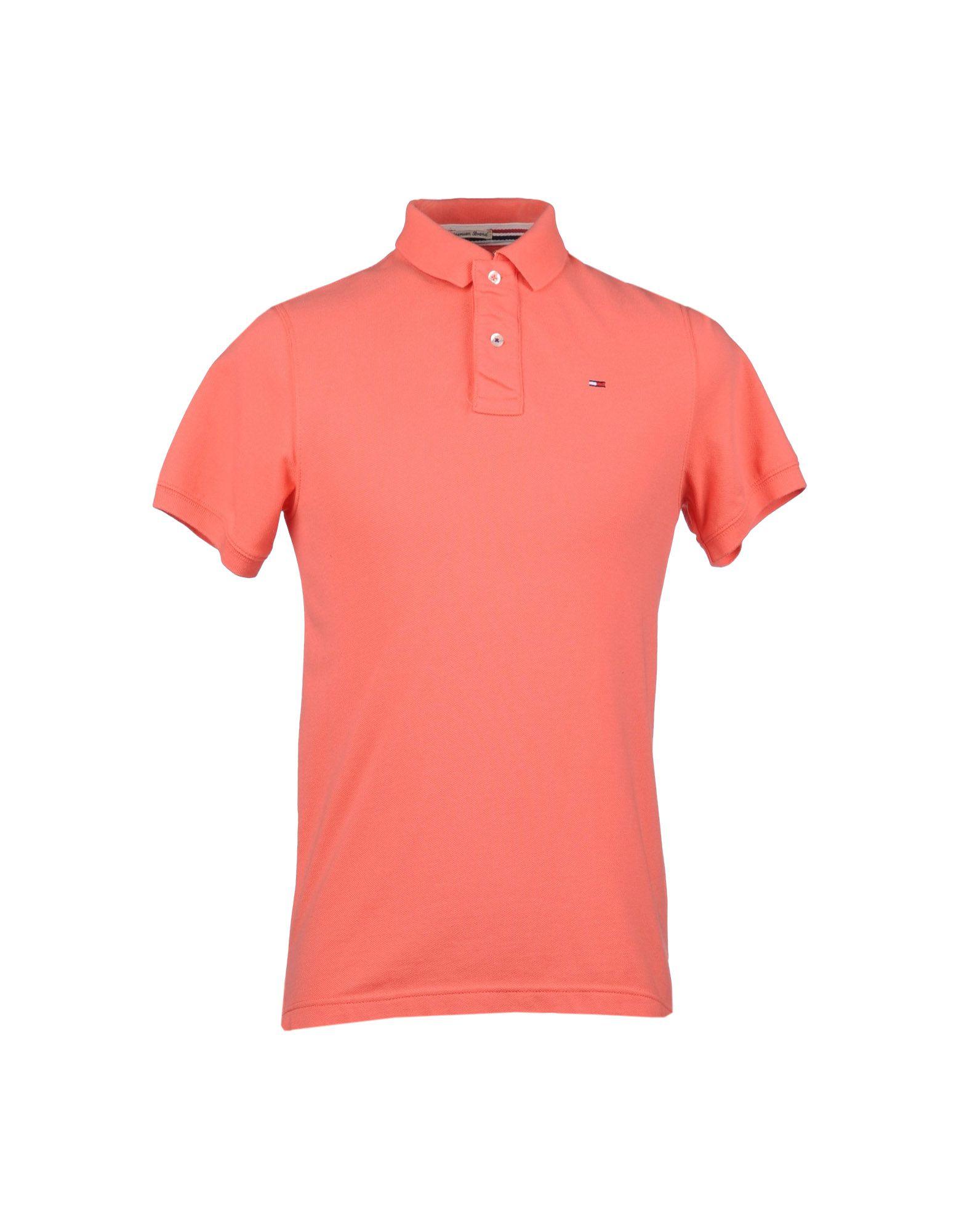 tommy hilfiger denim polo shirt in pink for men salmon. Black Bedroom Furniture Sets. Home Design Ideas