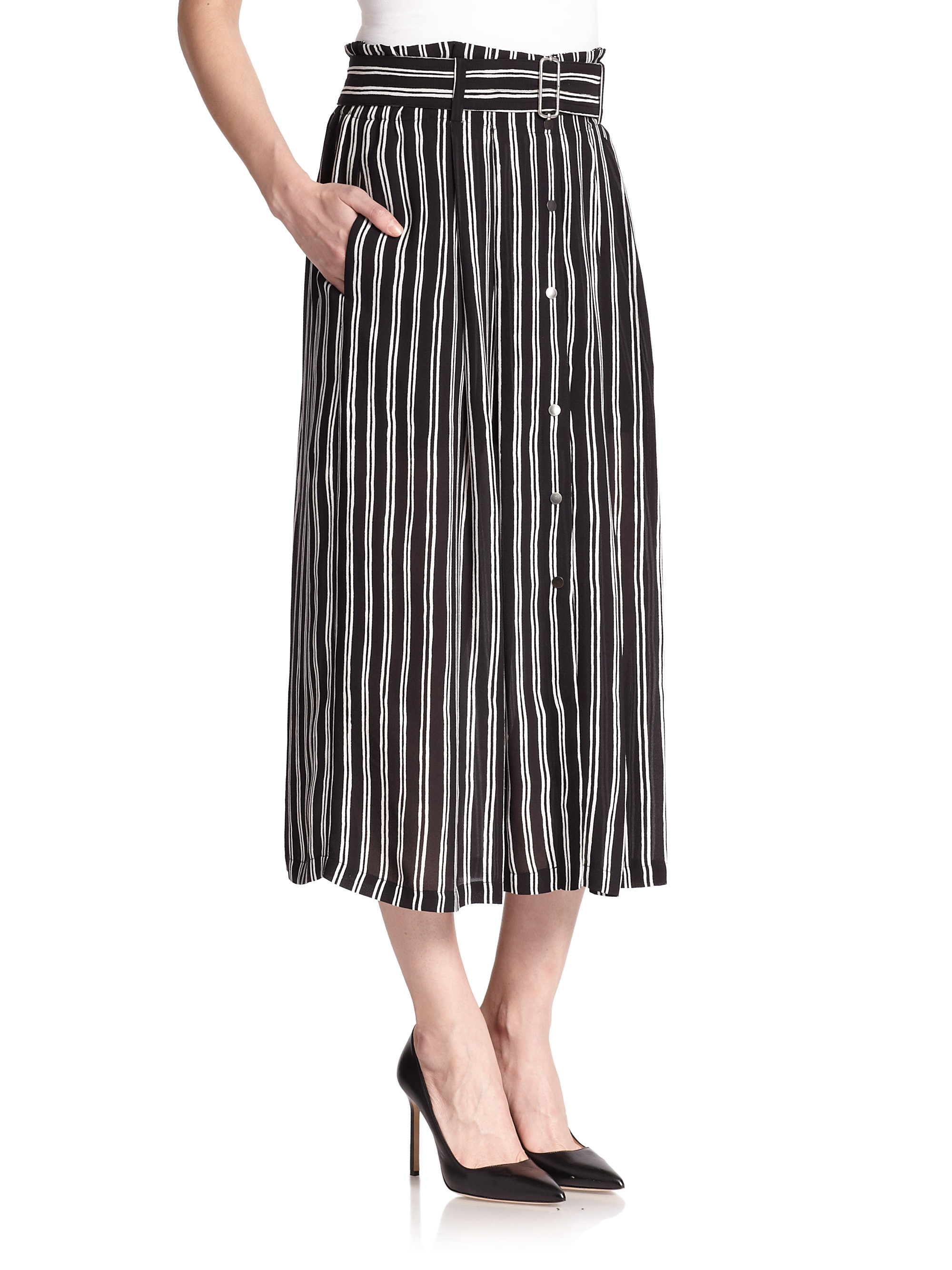 A.l.c. Mcdermott Striped Silk Midi Skirt in Black | Lyst