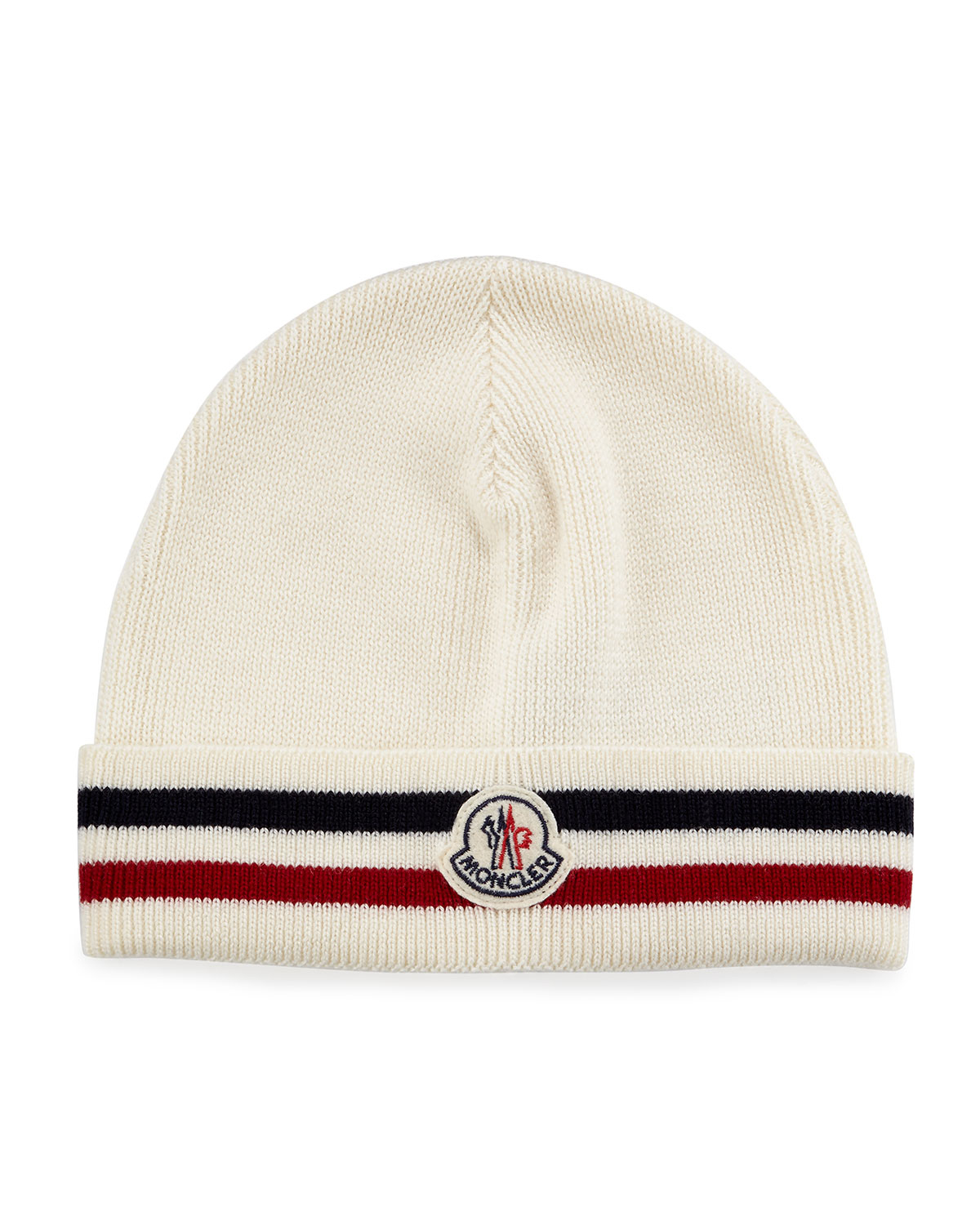 79322a3bb21 Lyst - Moncler Striped Logo Cashmere Beanie Hat in White for Men