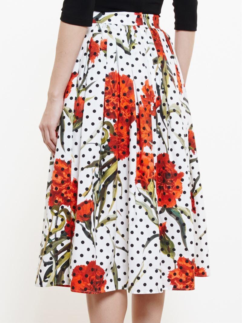 8fad5575271 Dolce & Gabbana Green Polka Dot Roses Skirt