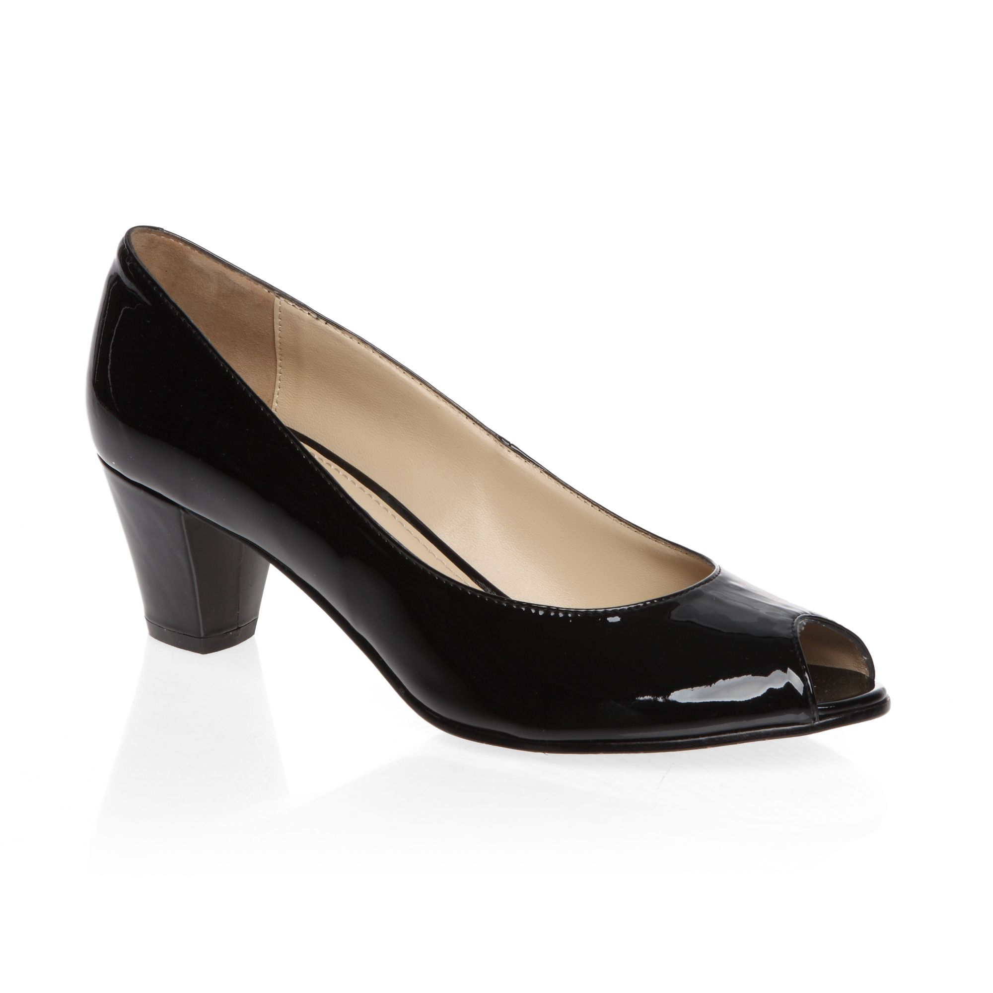 mascotte mid heeled peep toe patent court shoes in black